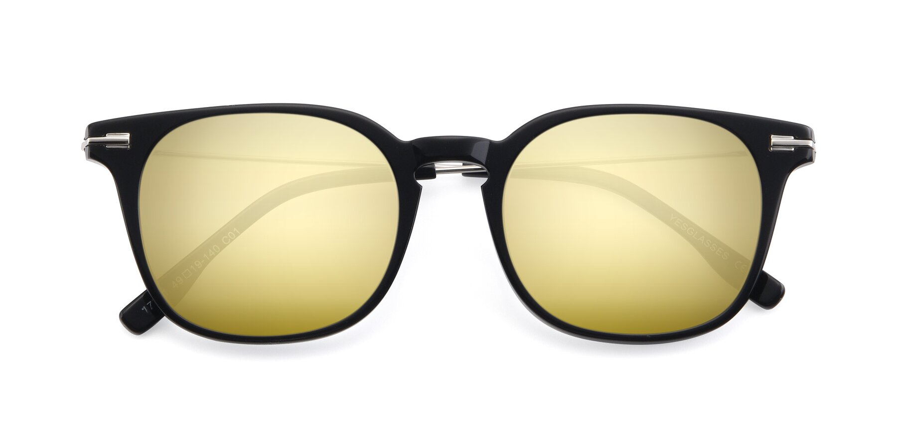 Folded Front of 17711 in Black with Gold Mirrored Lenses