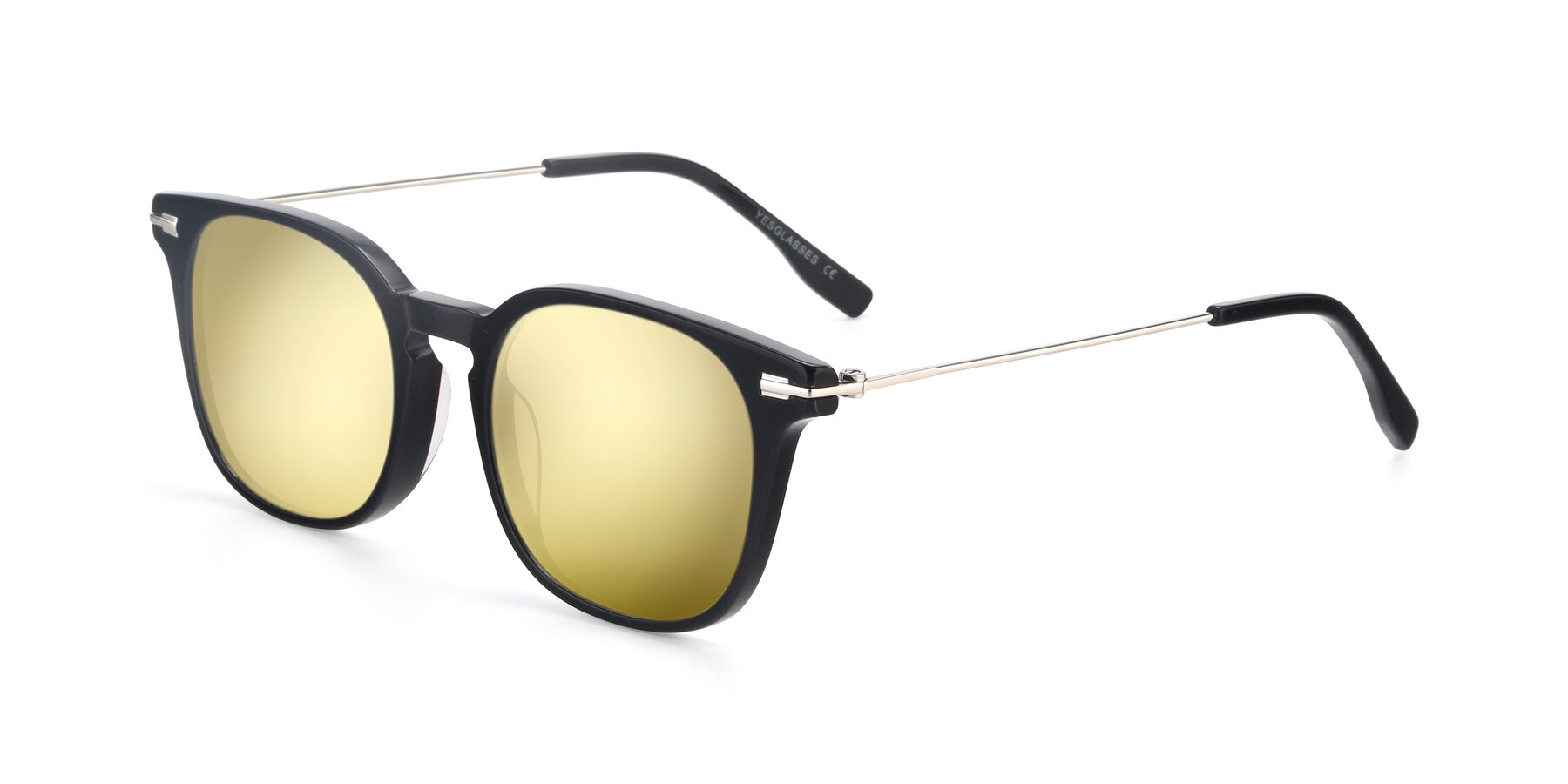 Angle of 17711 in Black with Gold Mirrored Lenses