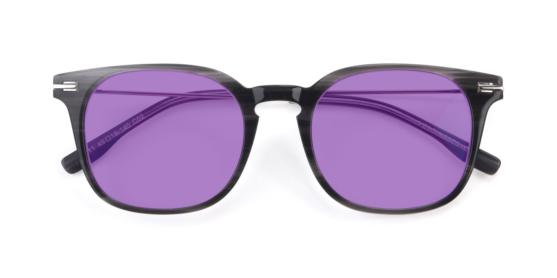 Folded Front of 17711 in Grey with Medium Purple Tinted Lenses
