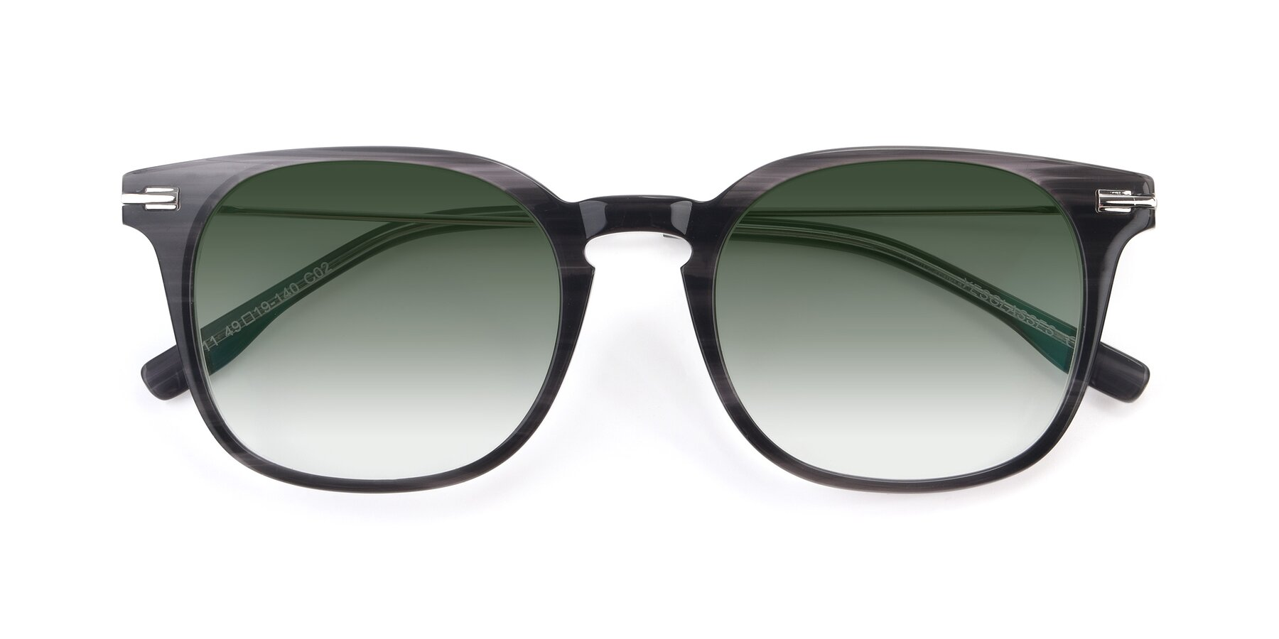 Folded Front of 17711 in Grey with Green Gradient Lenses
