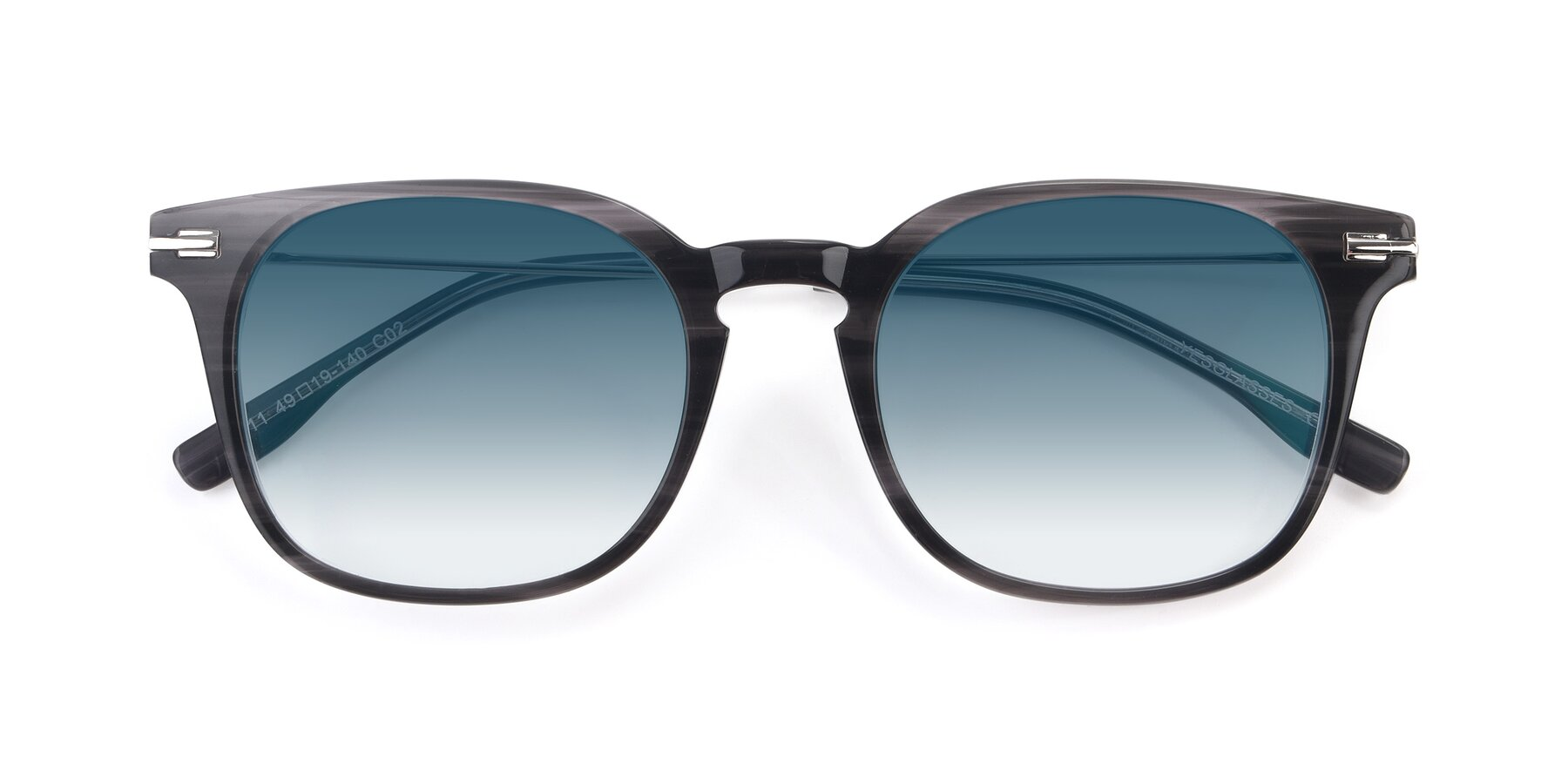 Folded Front of 17711 in Grey with Blue Gradient Lenses
