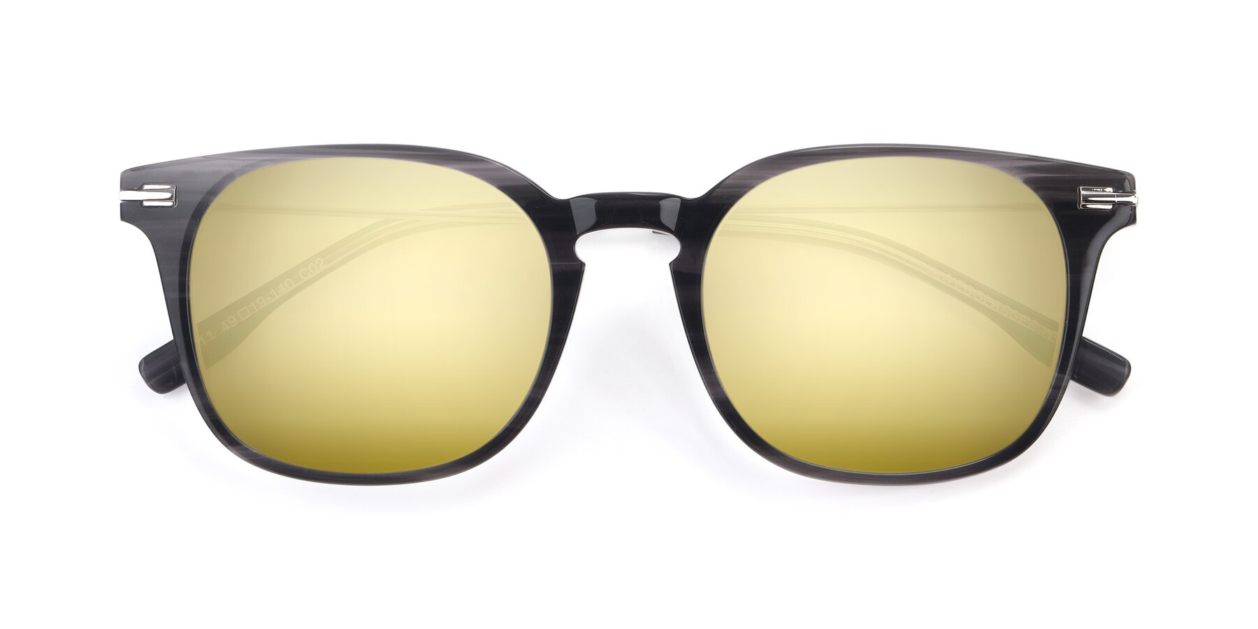 Folded Front of 17711 in Grey with Gold Mirrored Lenses