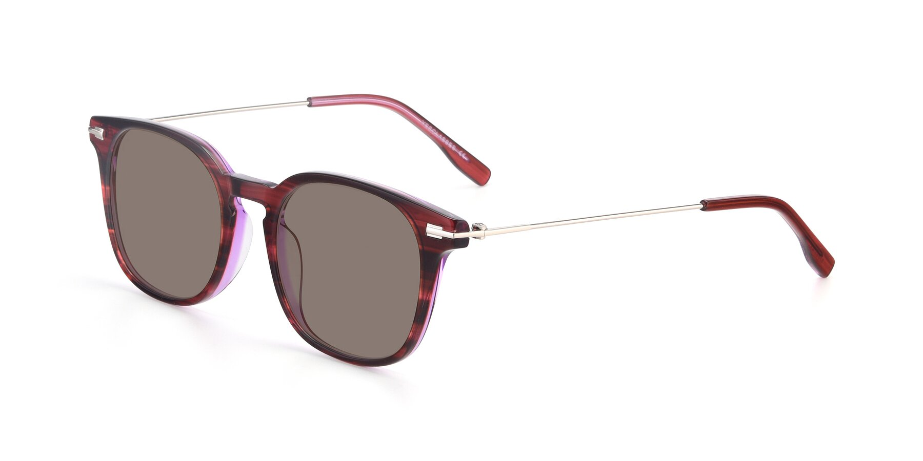 Angle of 17711 in Wine with Medium Brown Tinted Lenses