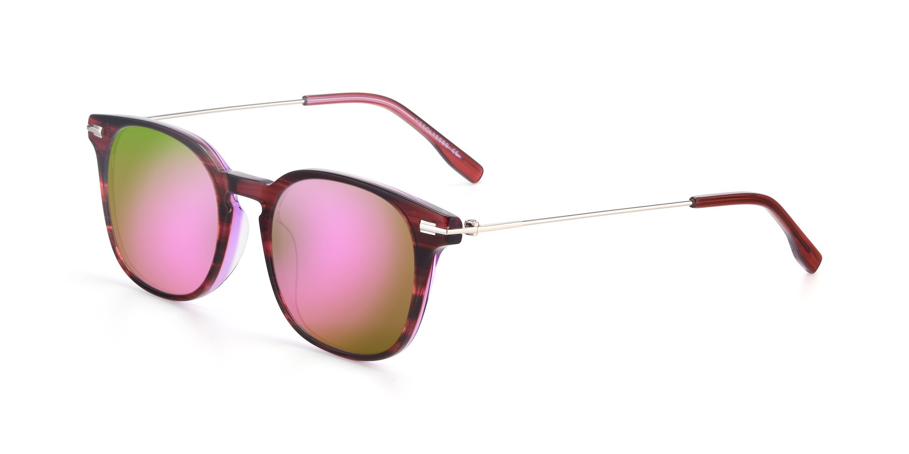 Angle of 17711 in Wine with Pink Mirrored Lenses