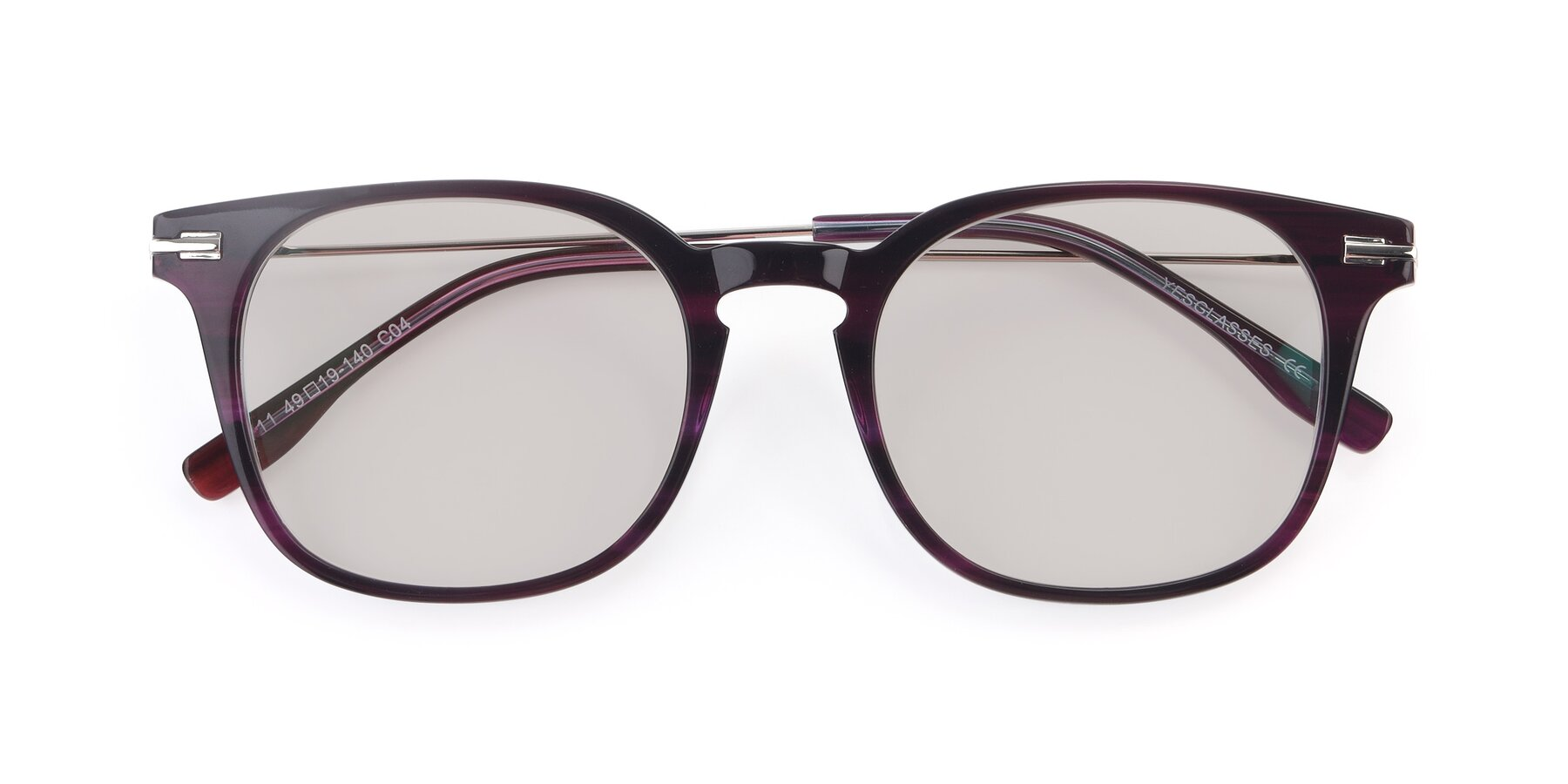 Folded Front of 17711 in Dark Purple with Light Brown Tinted Lenses