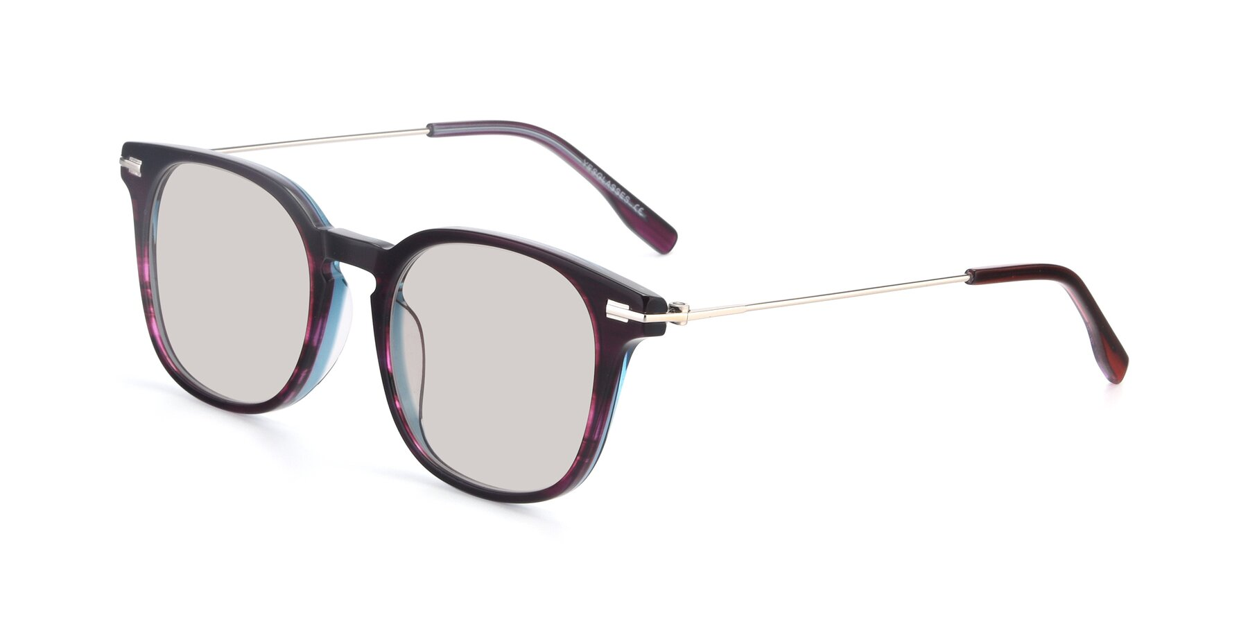 Angle of 17711 in Dark Purple with Light Brown Tinted Lenses