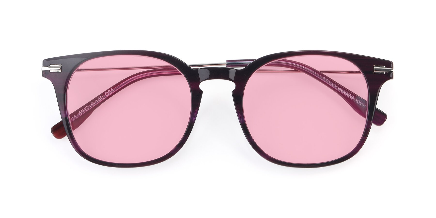 Folded Front of 17711 in Dark Purple with Medium Pink Tinted Lenses