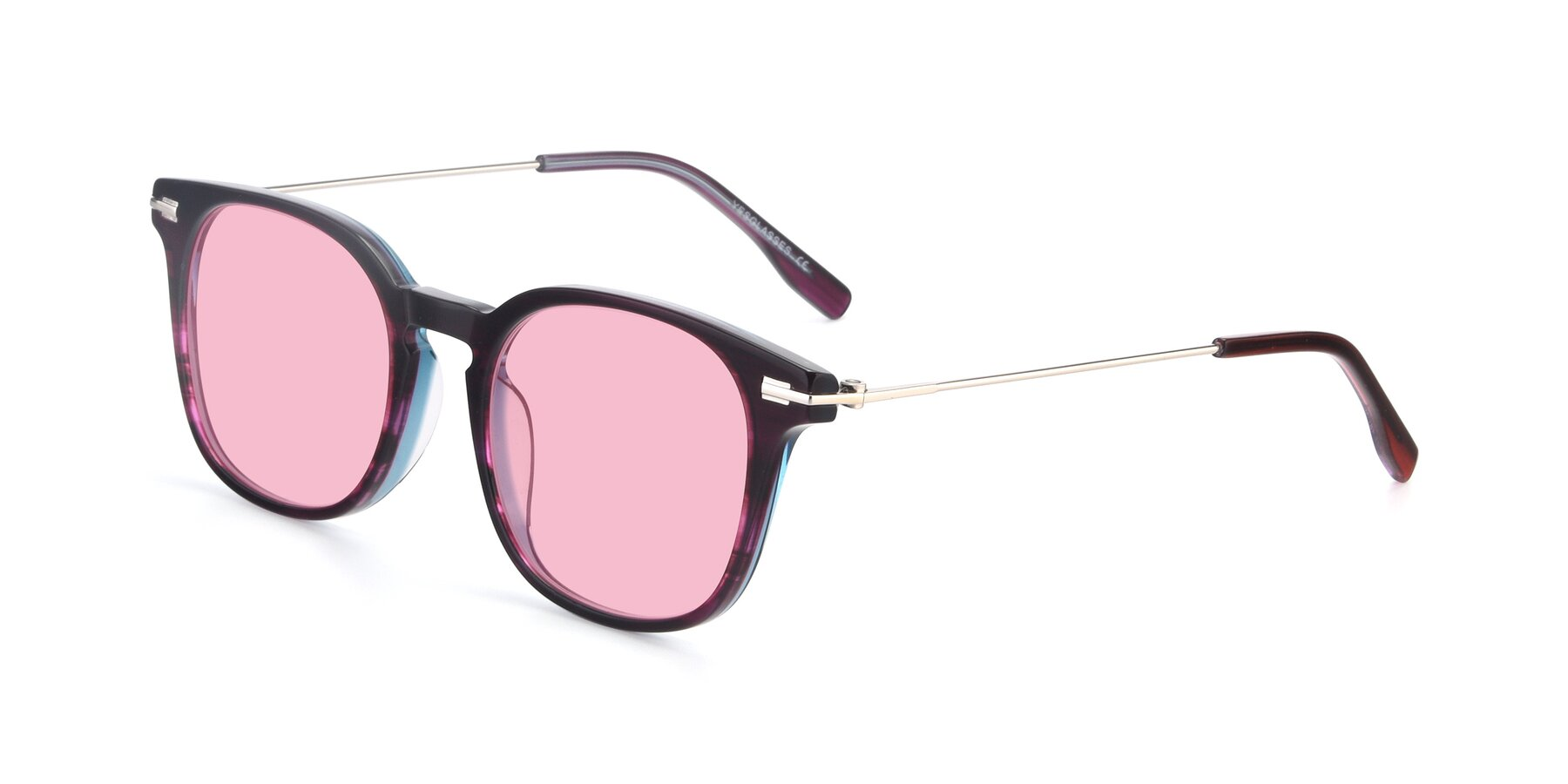 Angle of 17711 in Dark Purple with Medium Pink Tinted Lenses