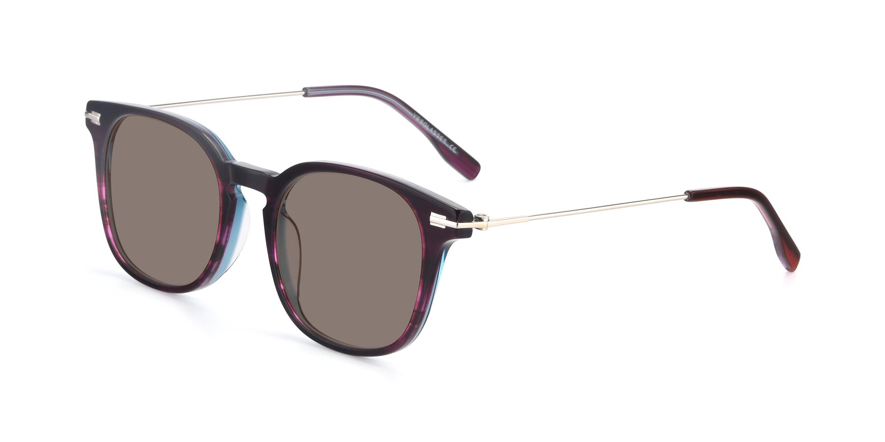 Angle of 17711 in Dark Purple with Medium Brown Tinted Lenses