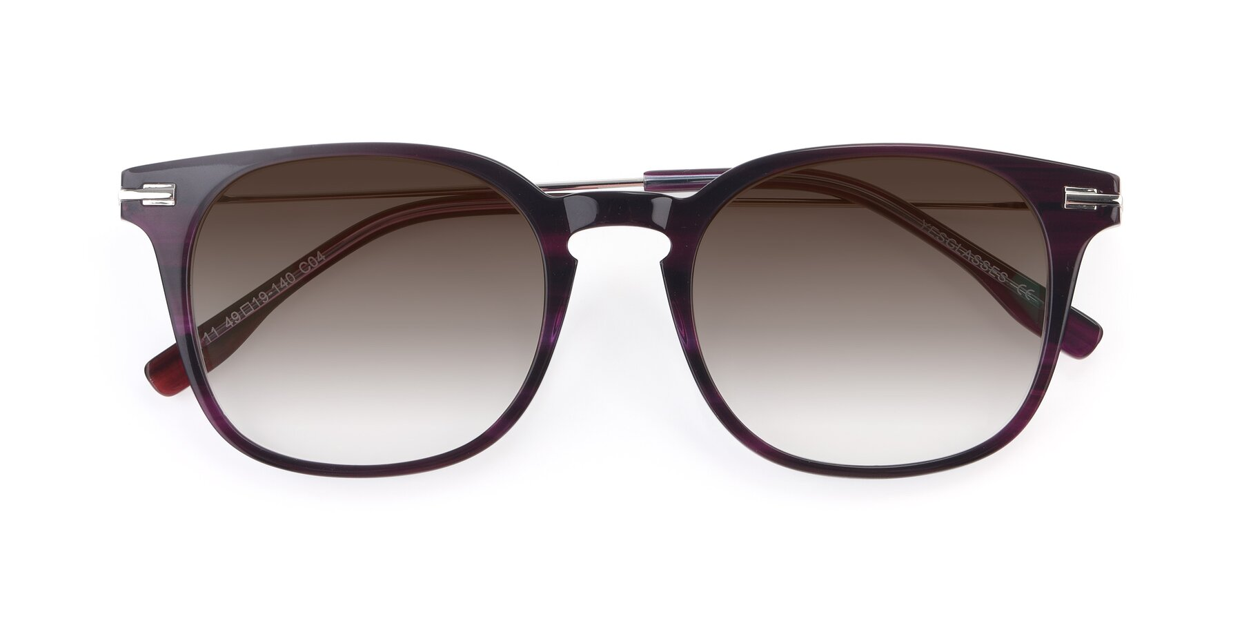 Folded Front of 17711 in Dark Purple with Brown Gradient Lenses