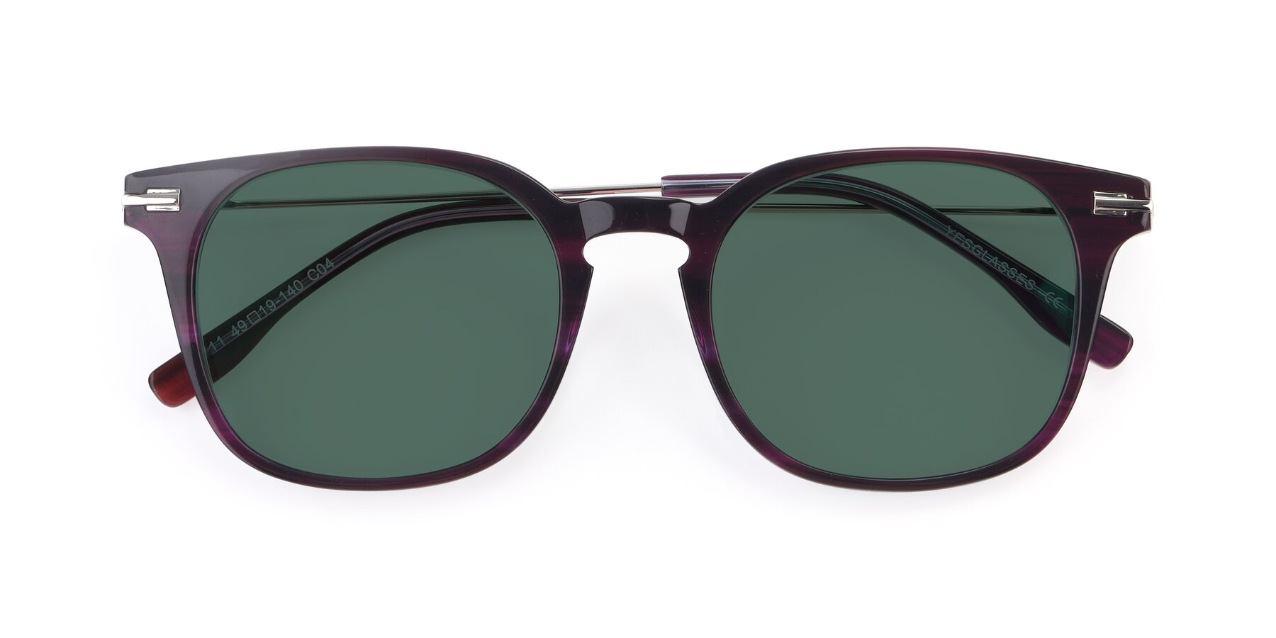 Folded Front of 17711 in Dark Purple with Green Polarized Lenses