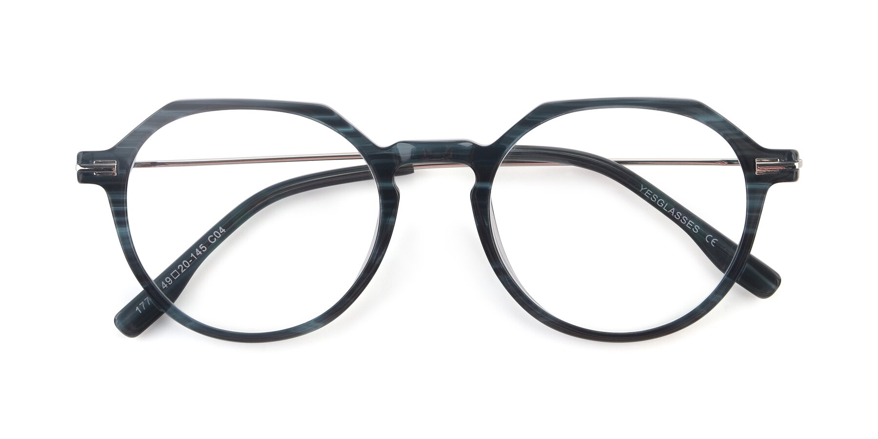 Folded Front of 17714 in Stripe Blue with Clear Blue Light Blocking Lenses