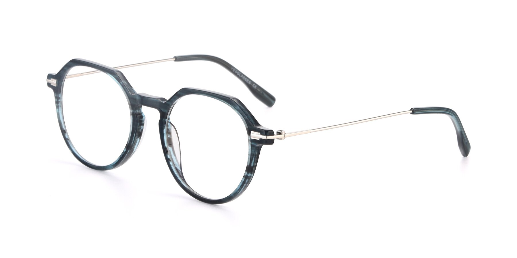 Angle of 17714 in Stripe Blue with Clear Blue Light Blocking Lenses
