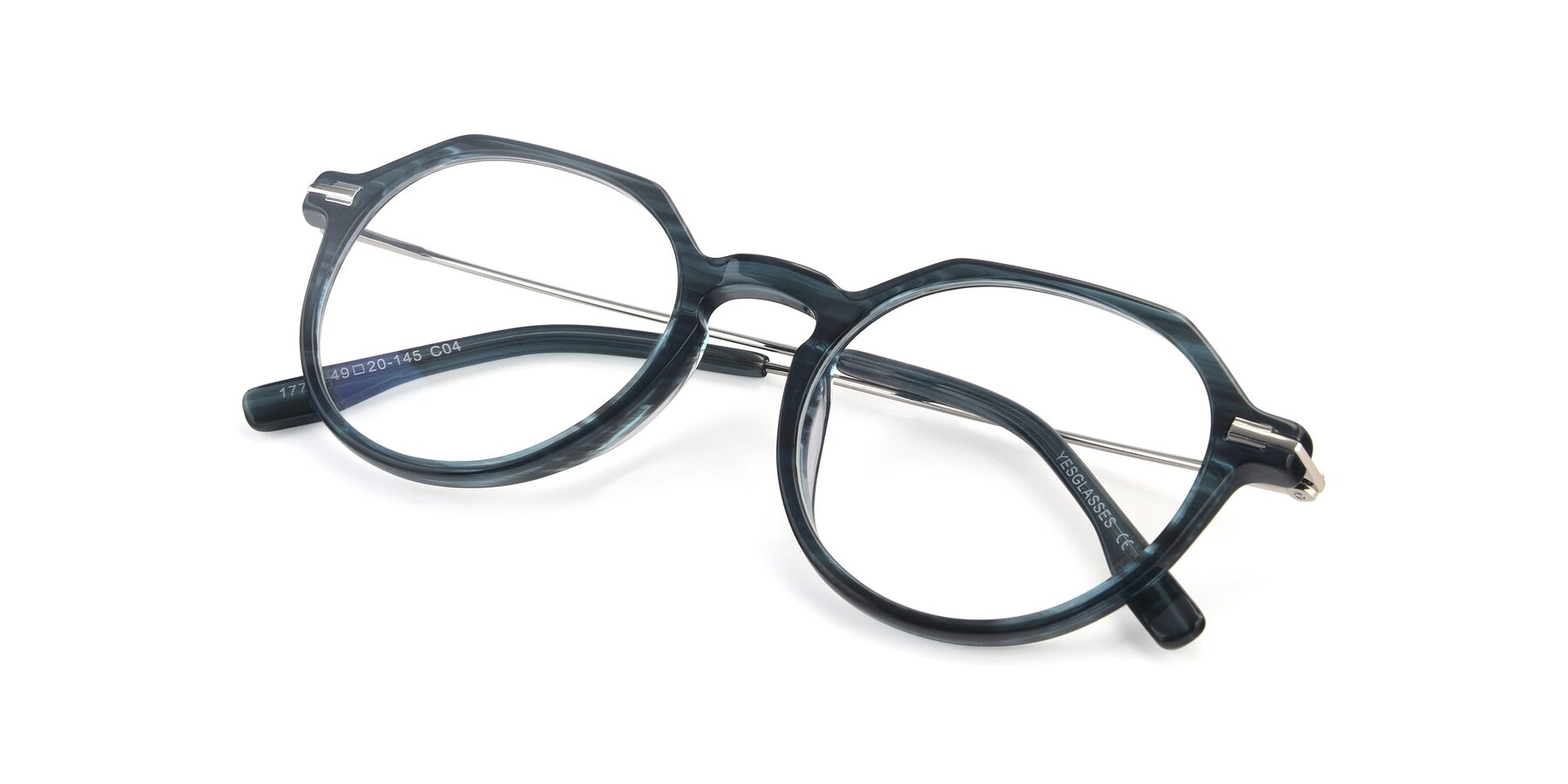 View of 17714 in Stripe Blue with Clear Blue Light Blocking Lenses
