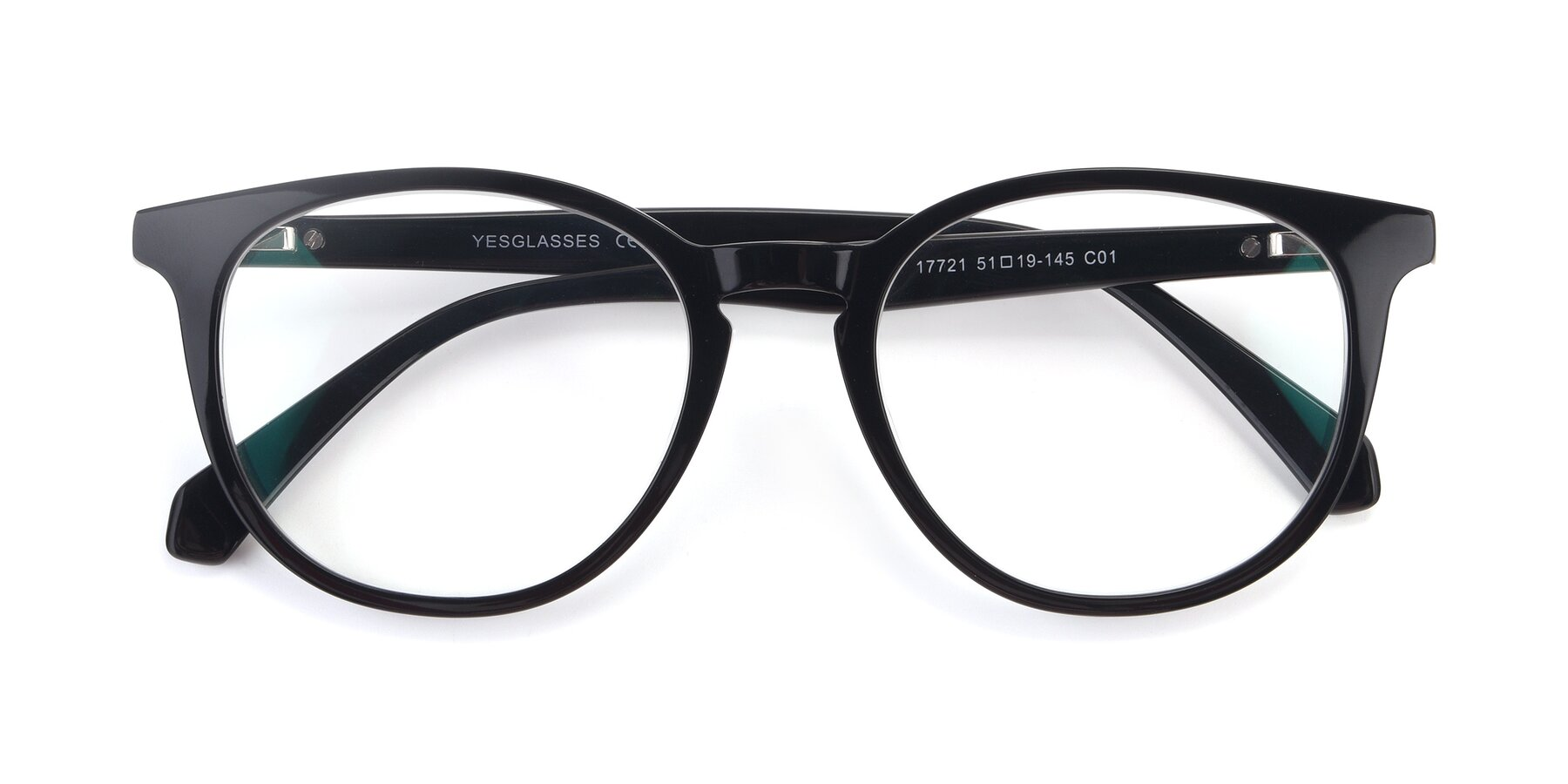 Folded Front of 17721 in Black with Clear Blue Light Blocking Lenses