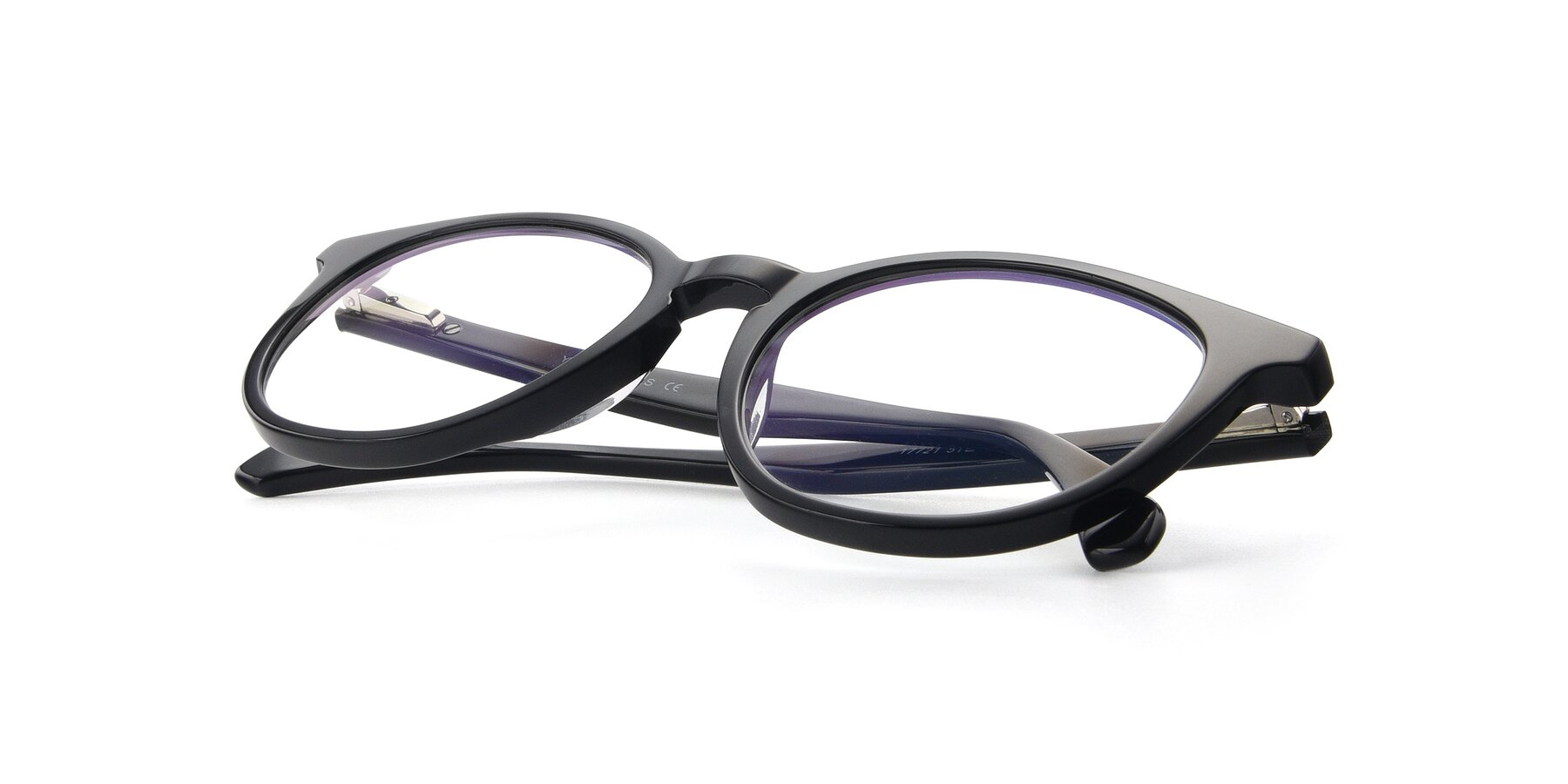 View of 17721 in Black with Clear Blue Light Blocking Lenses
