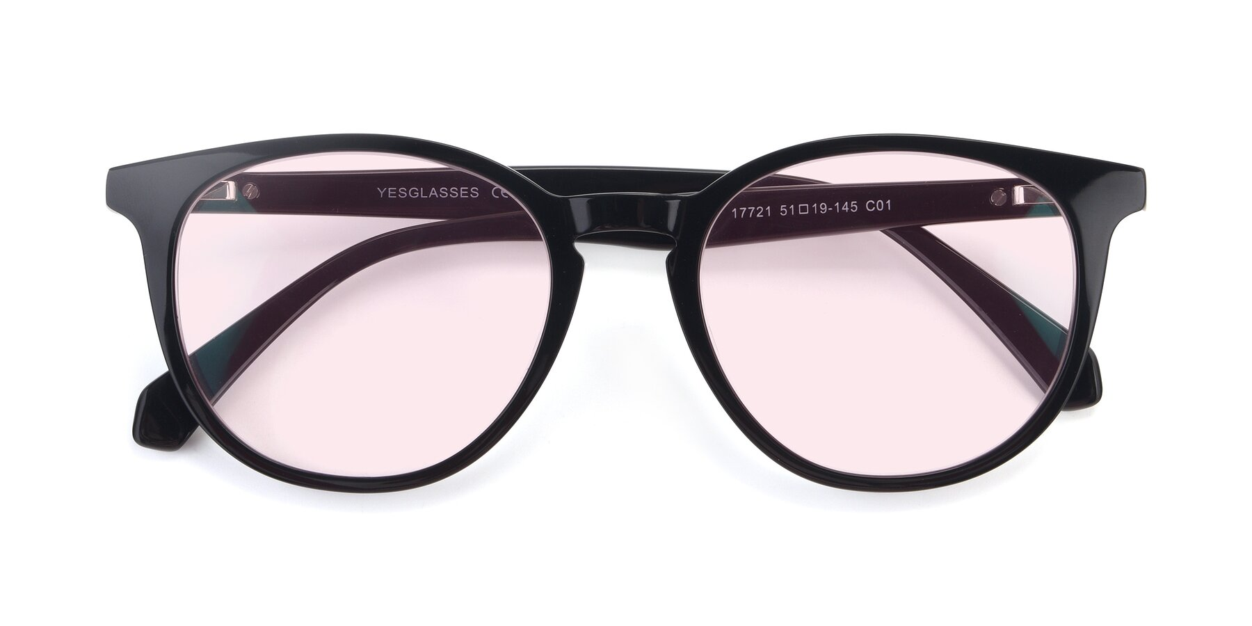 Folded Front of 17721 in Black with Light Pink Tinted Lenses