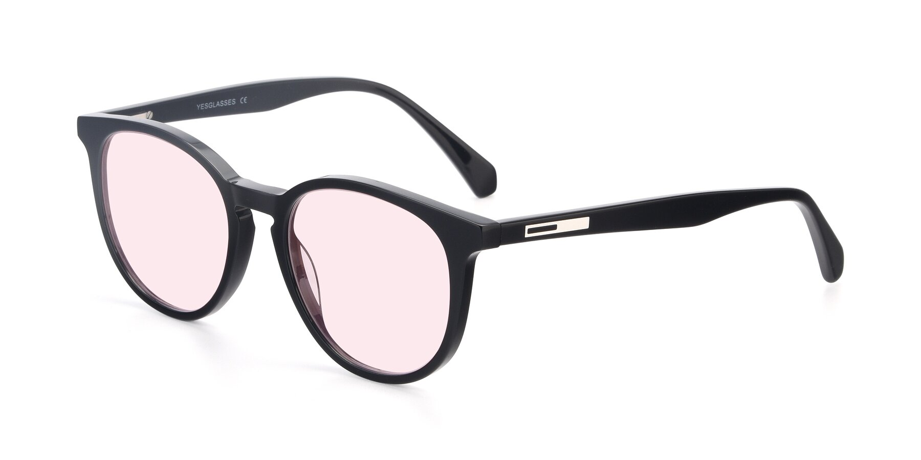 Angle of 17721 in Black with Light Pink Tinted Lenses