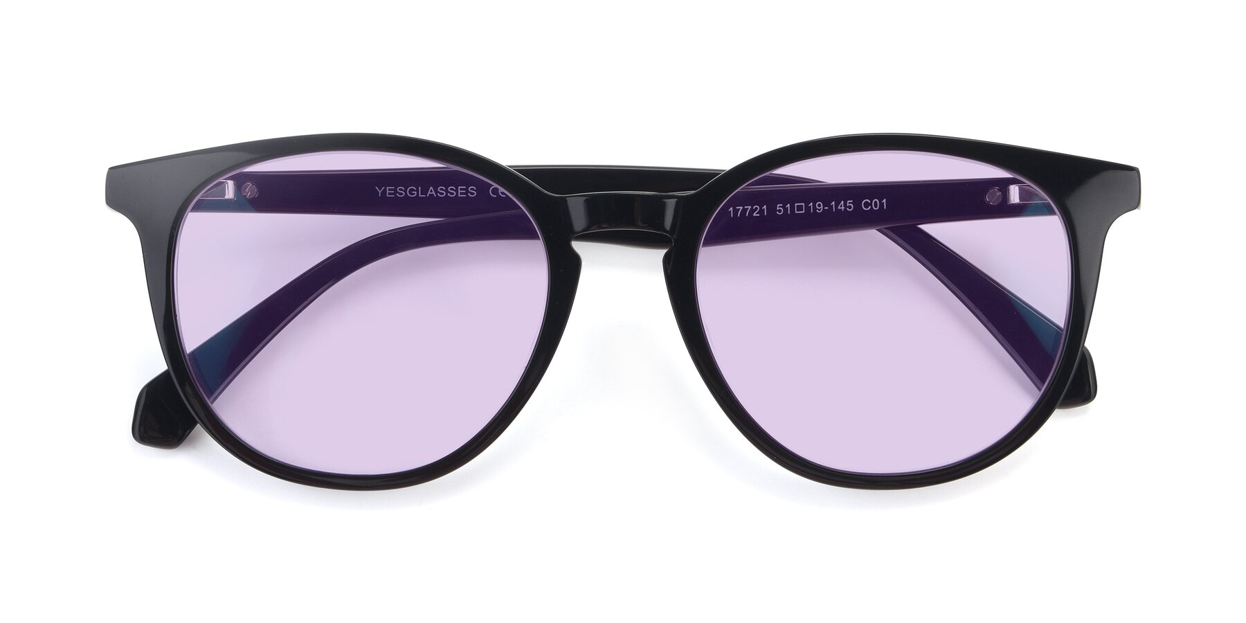 Folded Front of 17721 in Black with Light Purple Tinted Lenses