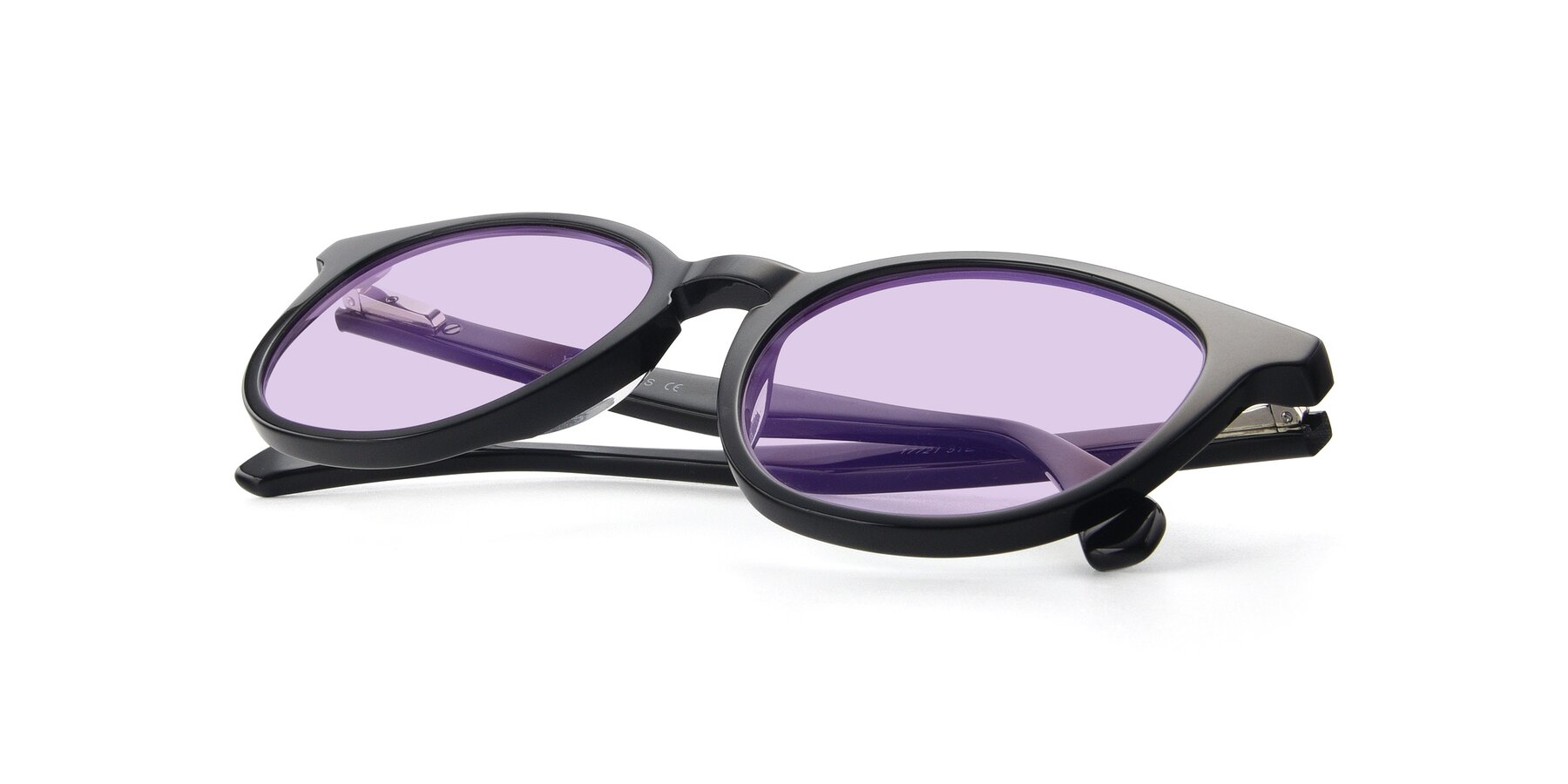 View of 17721 in Black with Light Purple Tinted Lenses
