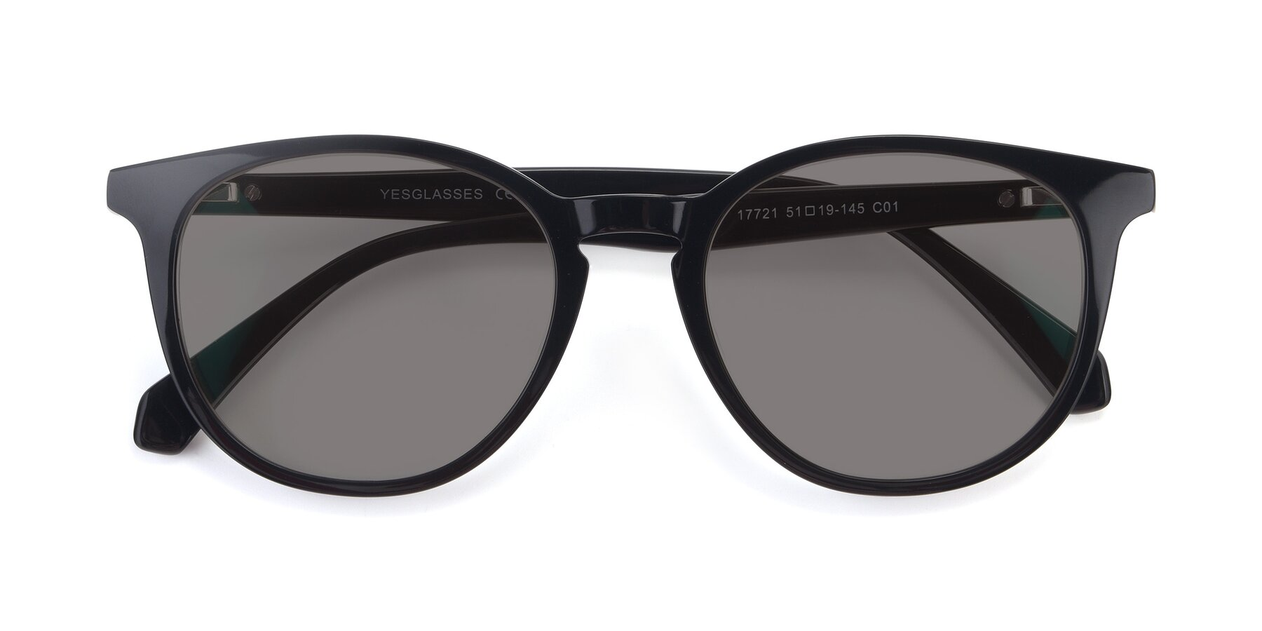 Folded Front of 17721 in Black with Medium Gray Tinted Lenses