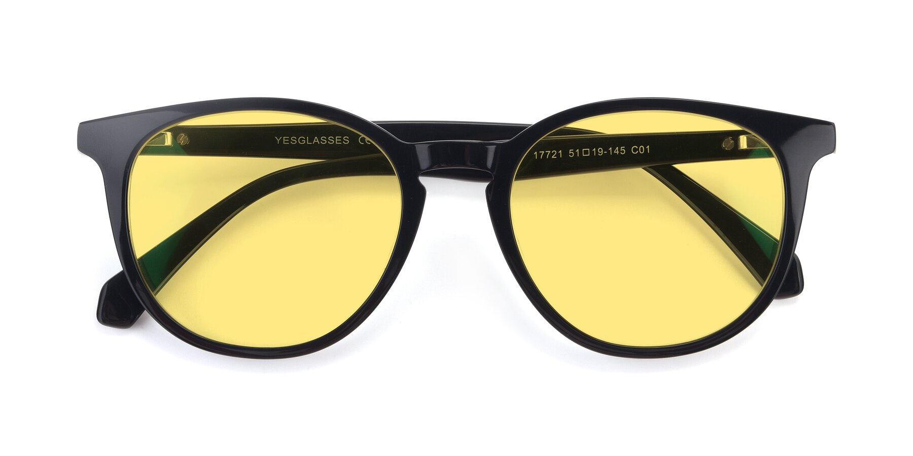 Folded Front of 17721 in Black with Medium Yellow Tinted Lenses