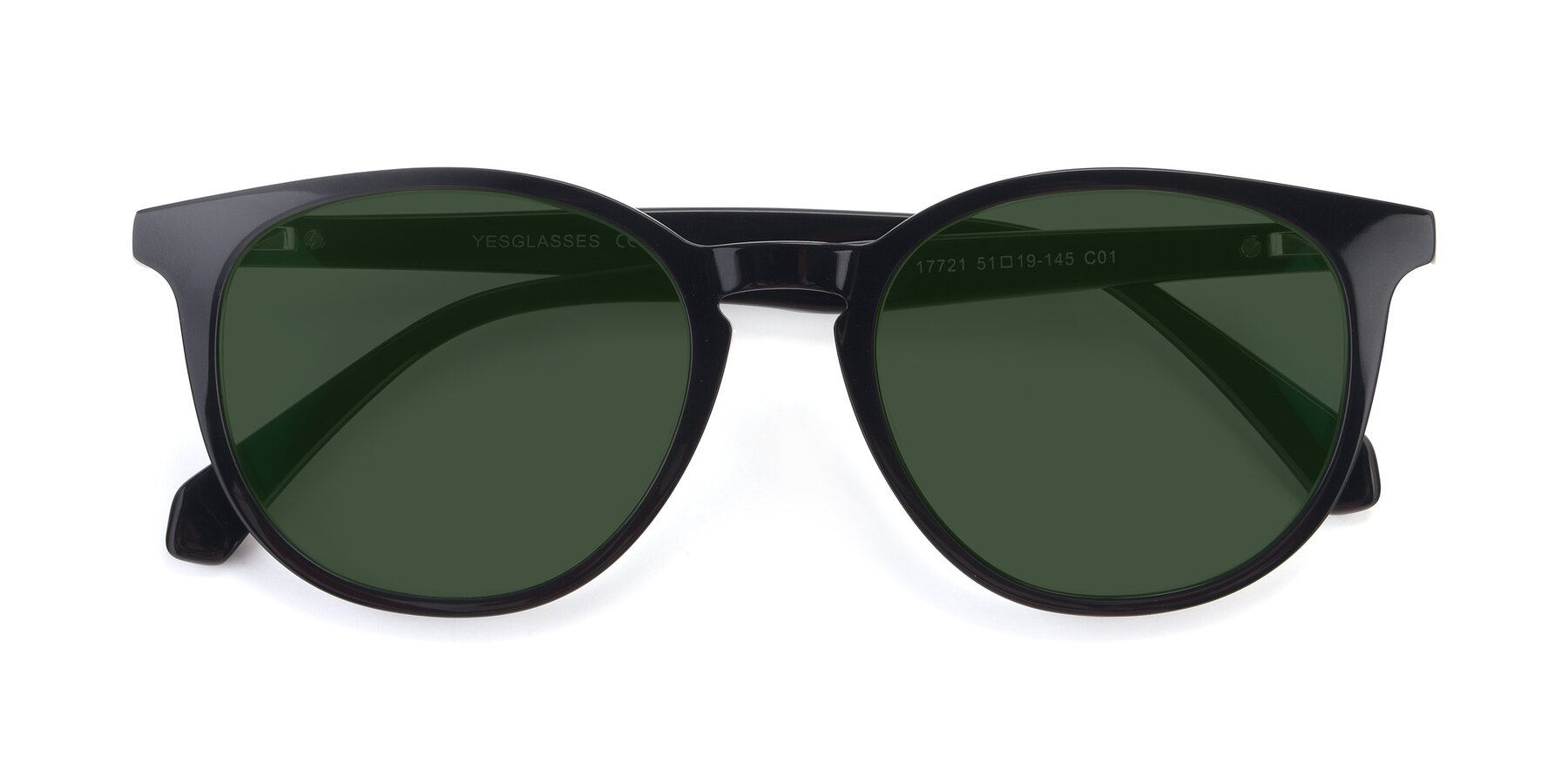 Folded Front of 17721 in Black with Green Tinted Lenses