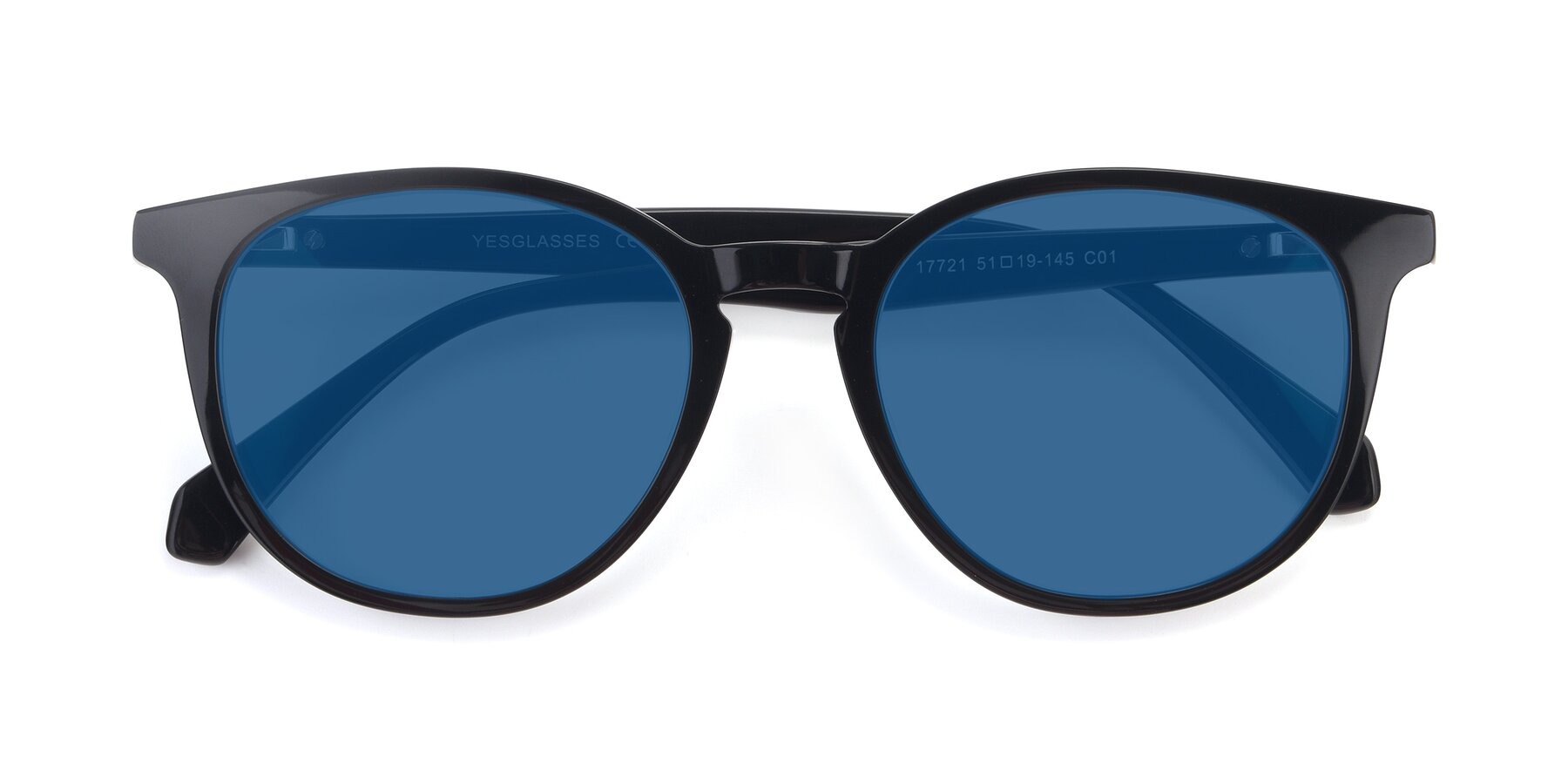 Folded Front of 17721 in Black with Blue Tinted Lenses