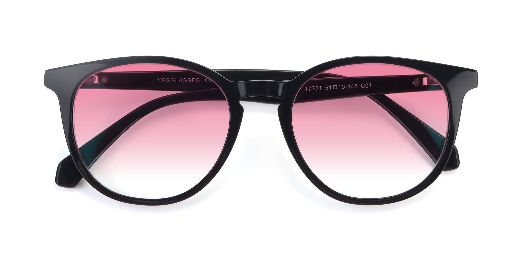 Folded Front of 17721 in Black with Pink Gradient Lenses