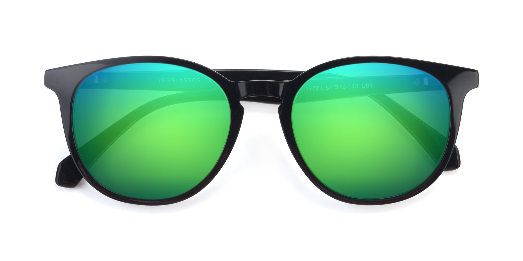 Folded Front of 17721 in Black with Green Mirrored Lenses