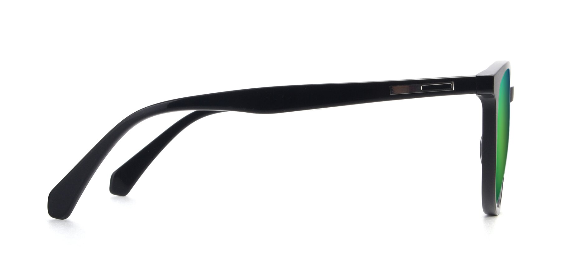 Side of 17721 in Black with Green Mirrored Lenses