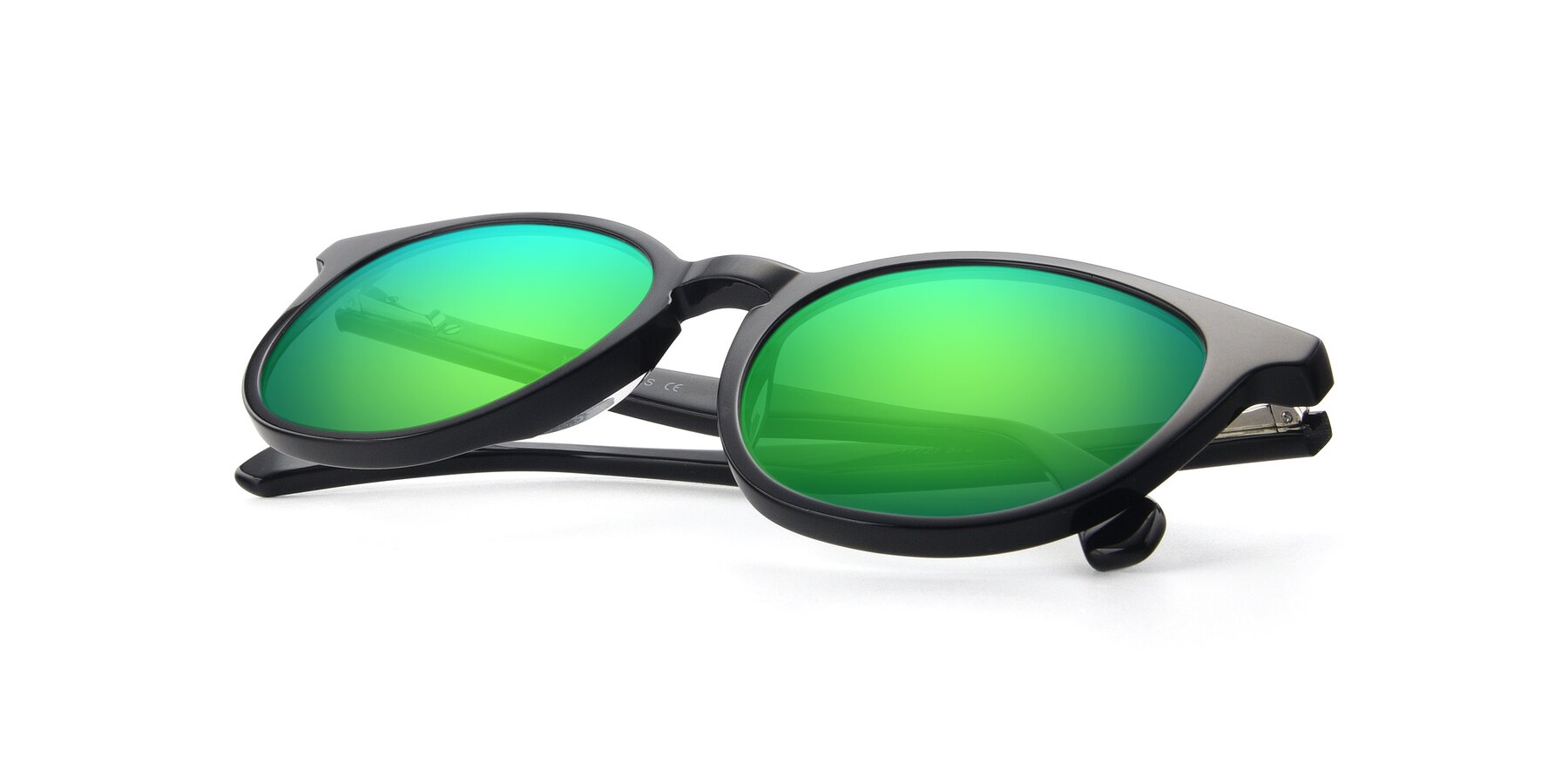 View of 17721 in Black with Green Mirrored Lenses