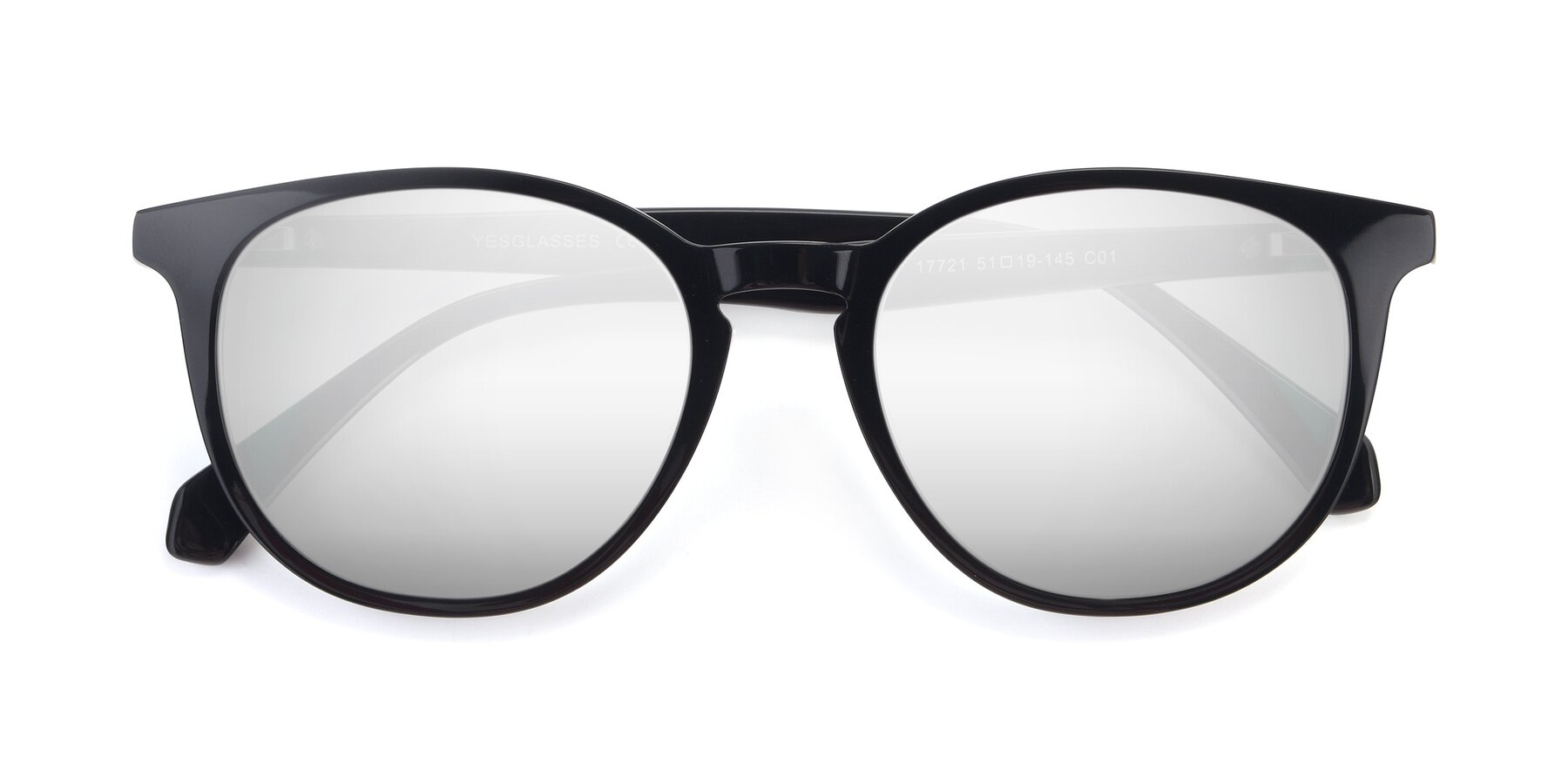 Folded Front of 17721 in Black with Silver Mirrored Lenses