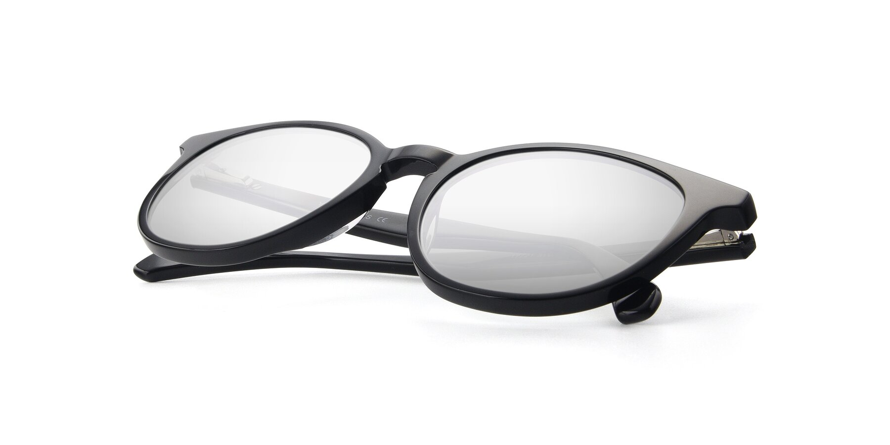 View of 17721 in Black with Silver Mirrored Lenses