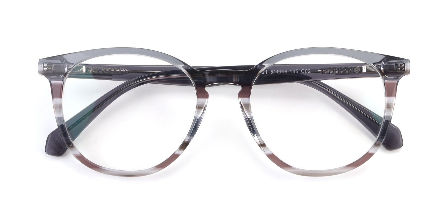Folded Front of 17721 in Stripe Grey with Clear Blue Light Blocking Lenses