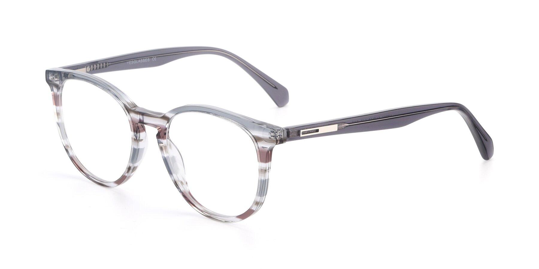 Angle of 17721 in Stripe Grey with Clear Blue Light Blocking Lenses
