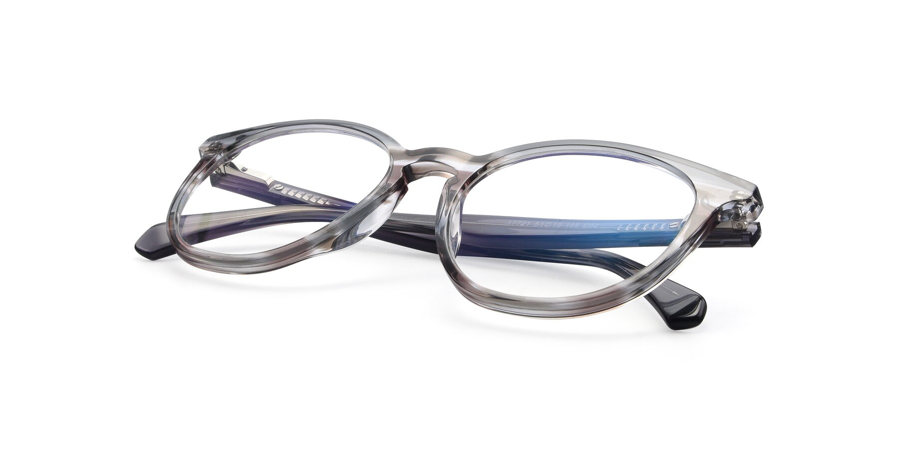 View of 17721 in Stripe Grey with Clear Blue Light Blocking Lenses