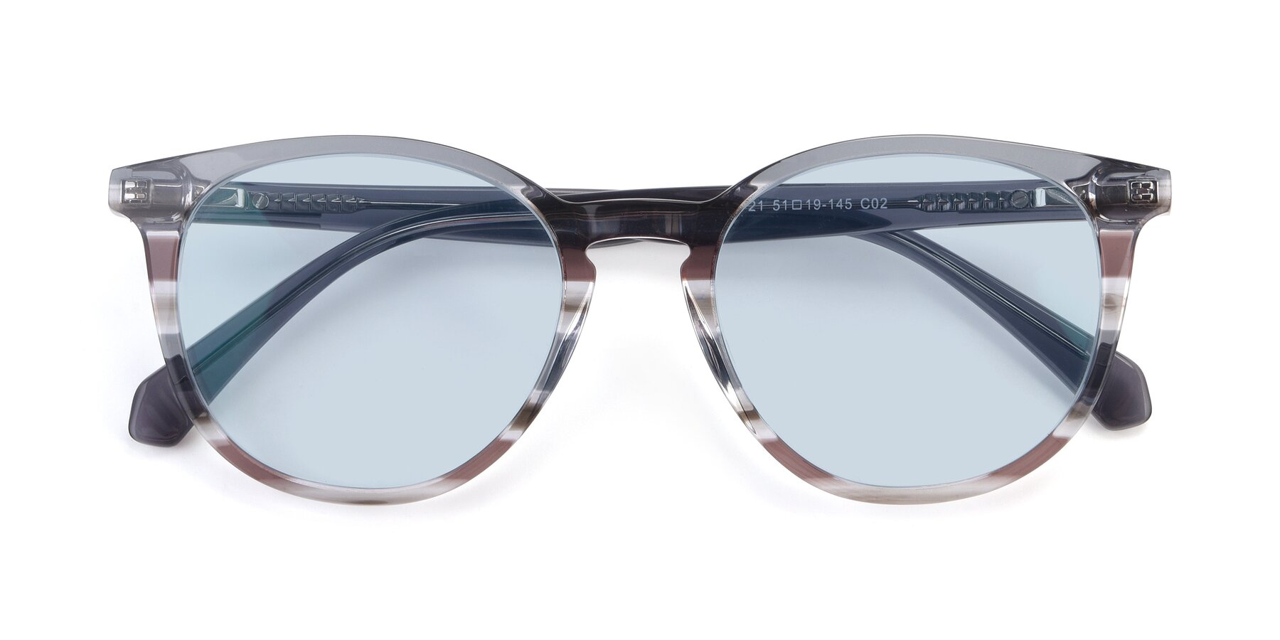 Folded Front of 17721 in Stripe Grey with Light Blue Tinted Lenses