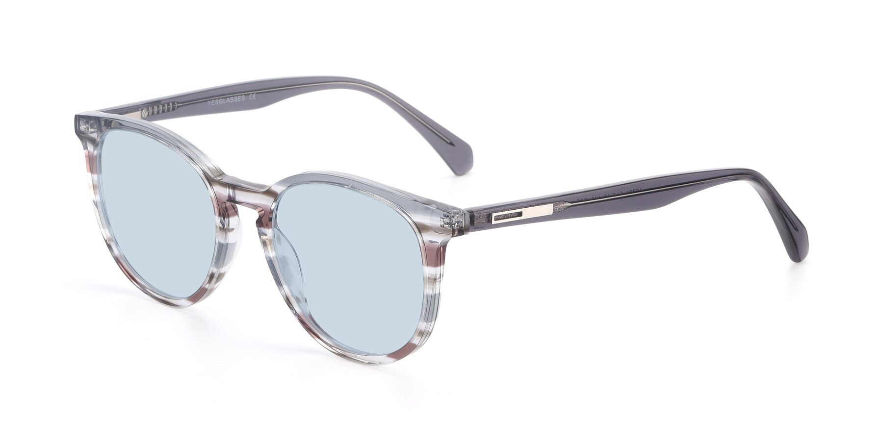 Angle of 17721 in Stripe Grey with Light Blue Tinted Lenses