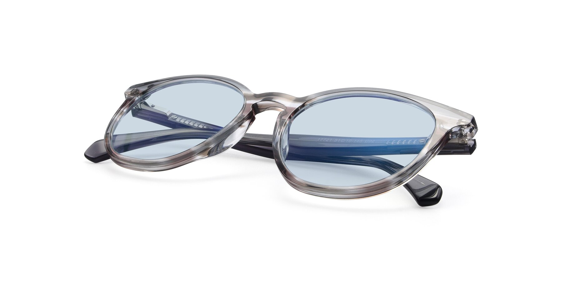 View of 17721 in Stripe Grey with Light Blue Tinted Lenses