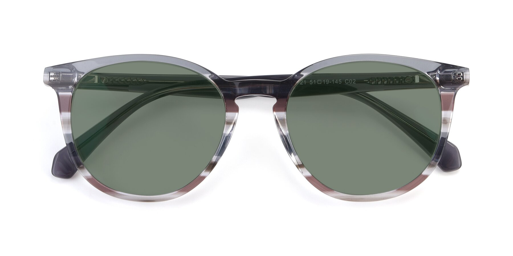 Folded Front of 17721 in Stripe Grey with Medium Green Tinted Lenses