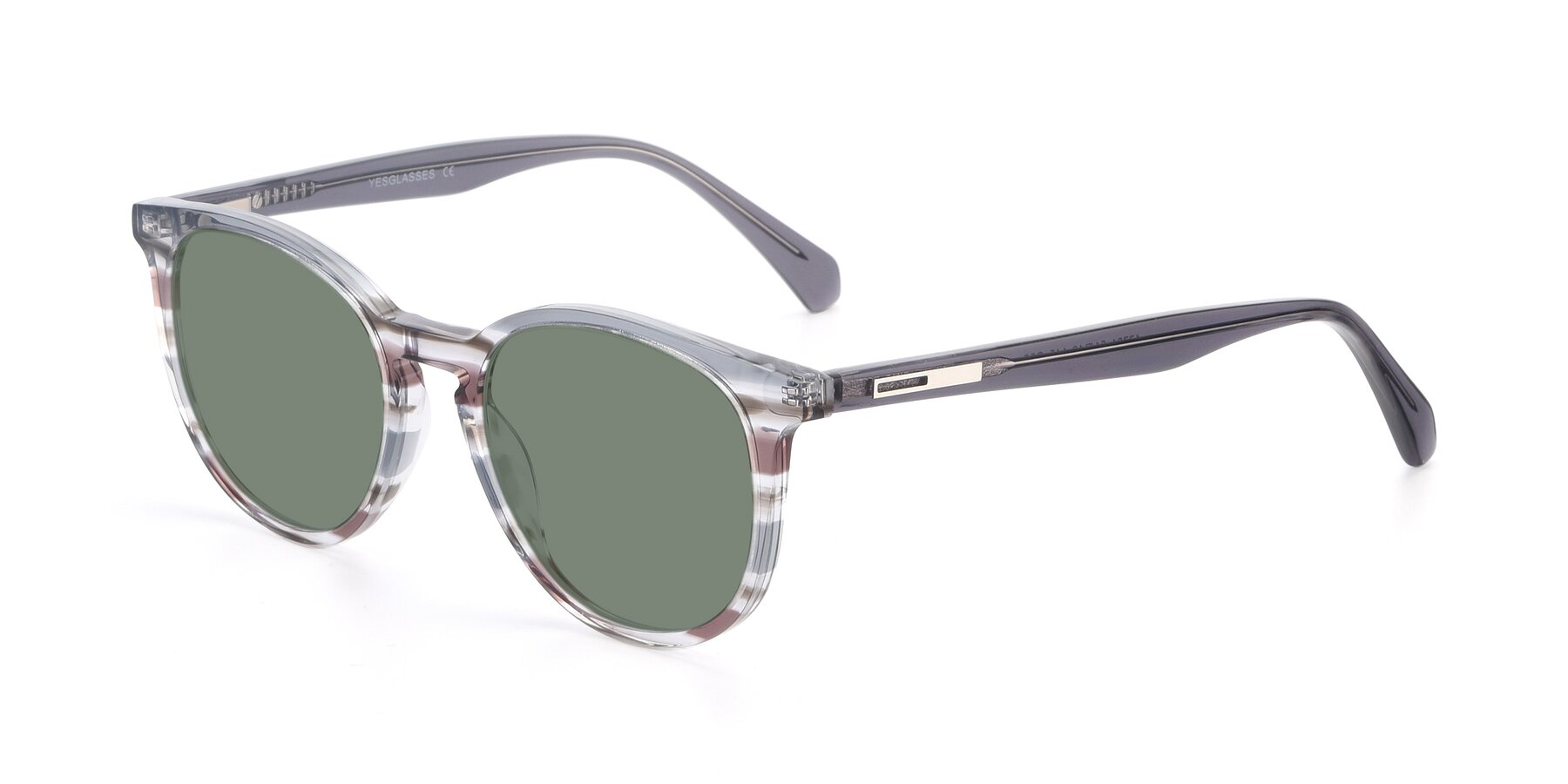 Angle of 17721 in Stripe Grey with Medium Green Tinted Lenses