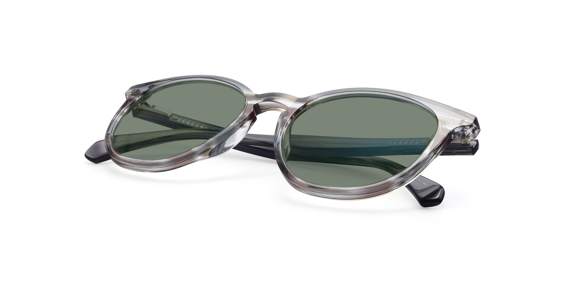View of 17721 in Stripe Grey with Medium Green Tinted Lenses
