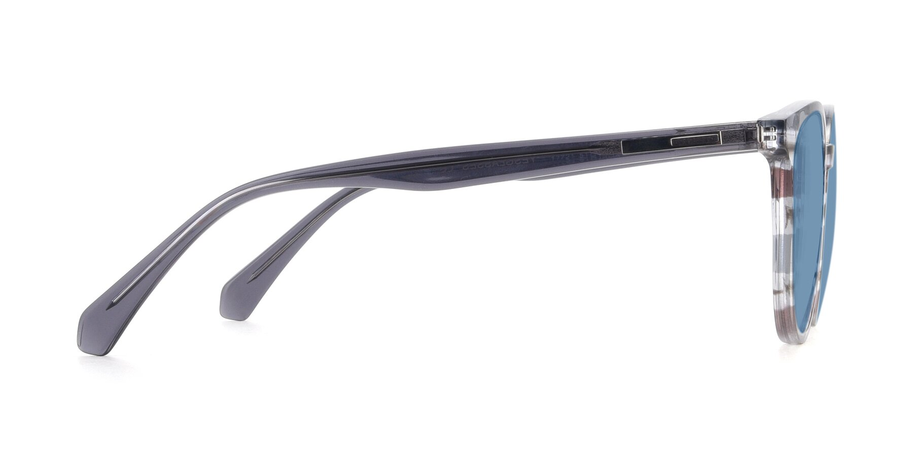 Side of 17721 in Stripe Grey with Medium Blue Tinted Lenses
