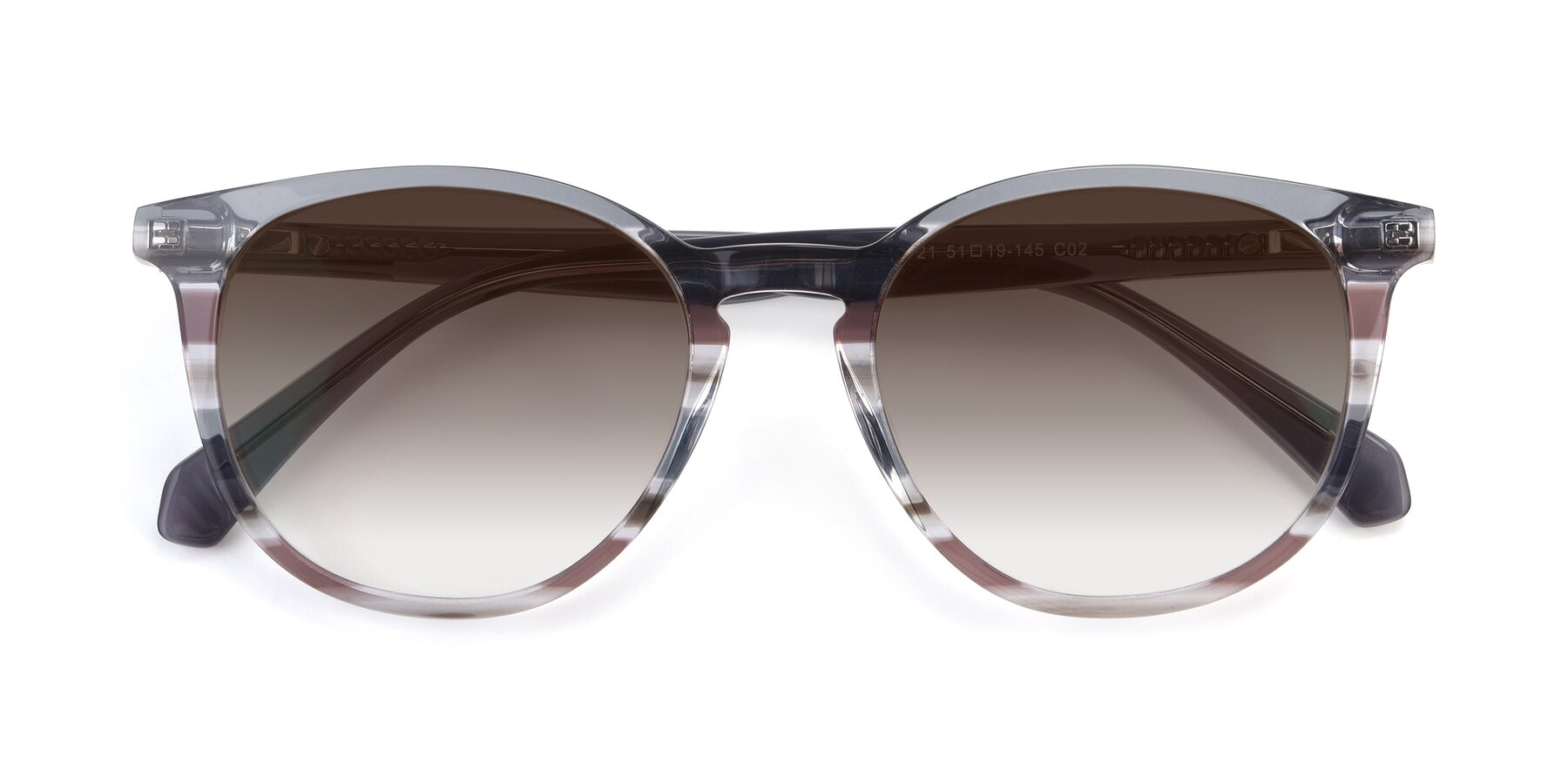 Folded Front of 17721 in Stripe Grey with Brown Gradient Lenses