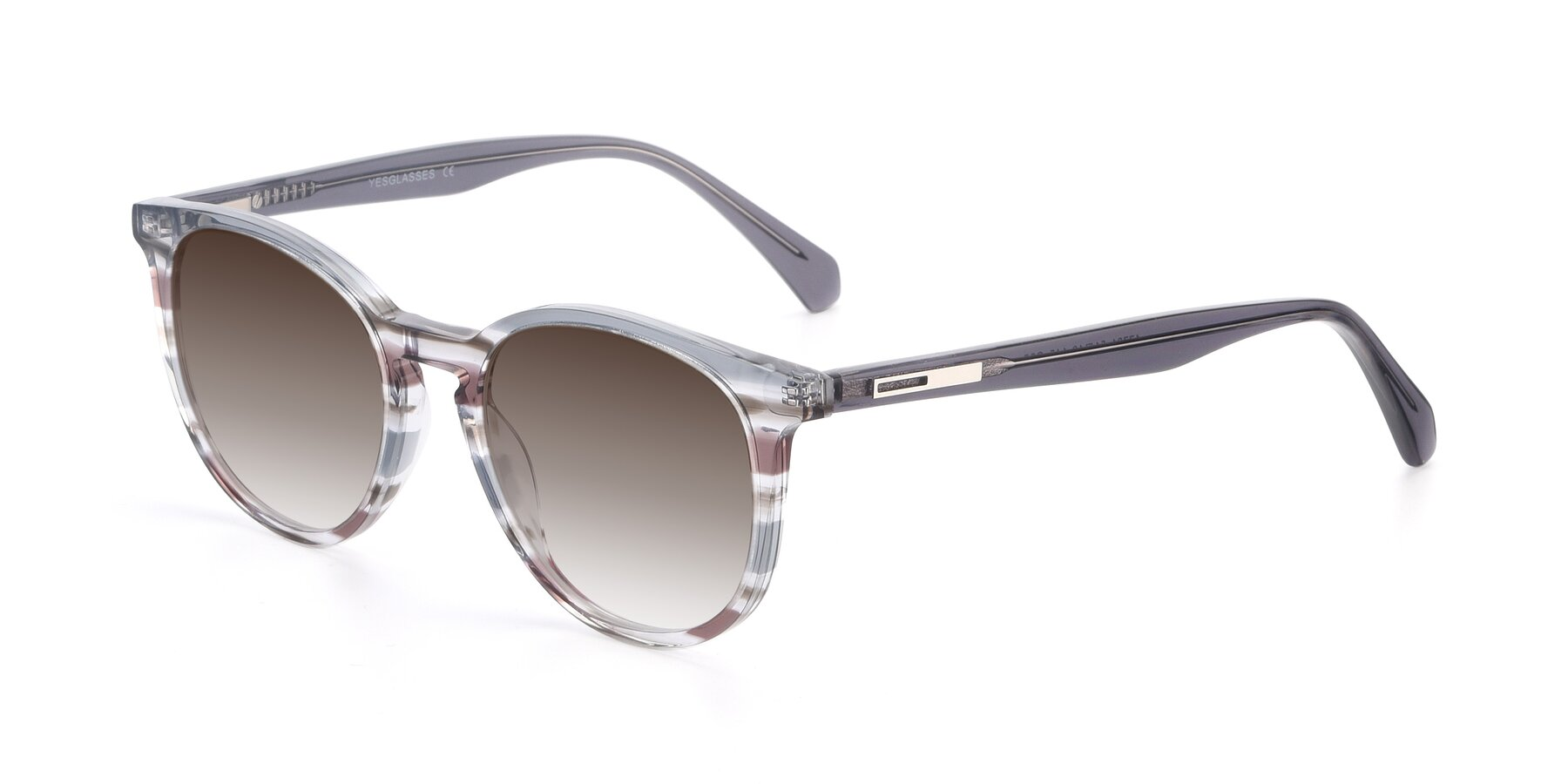 Angle of 17721 in Stripe Grey with Brown Gradient Lenses