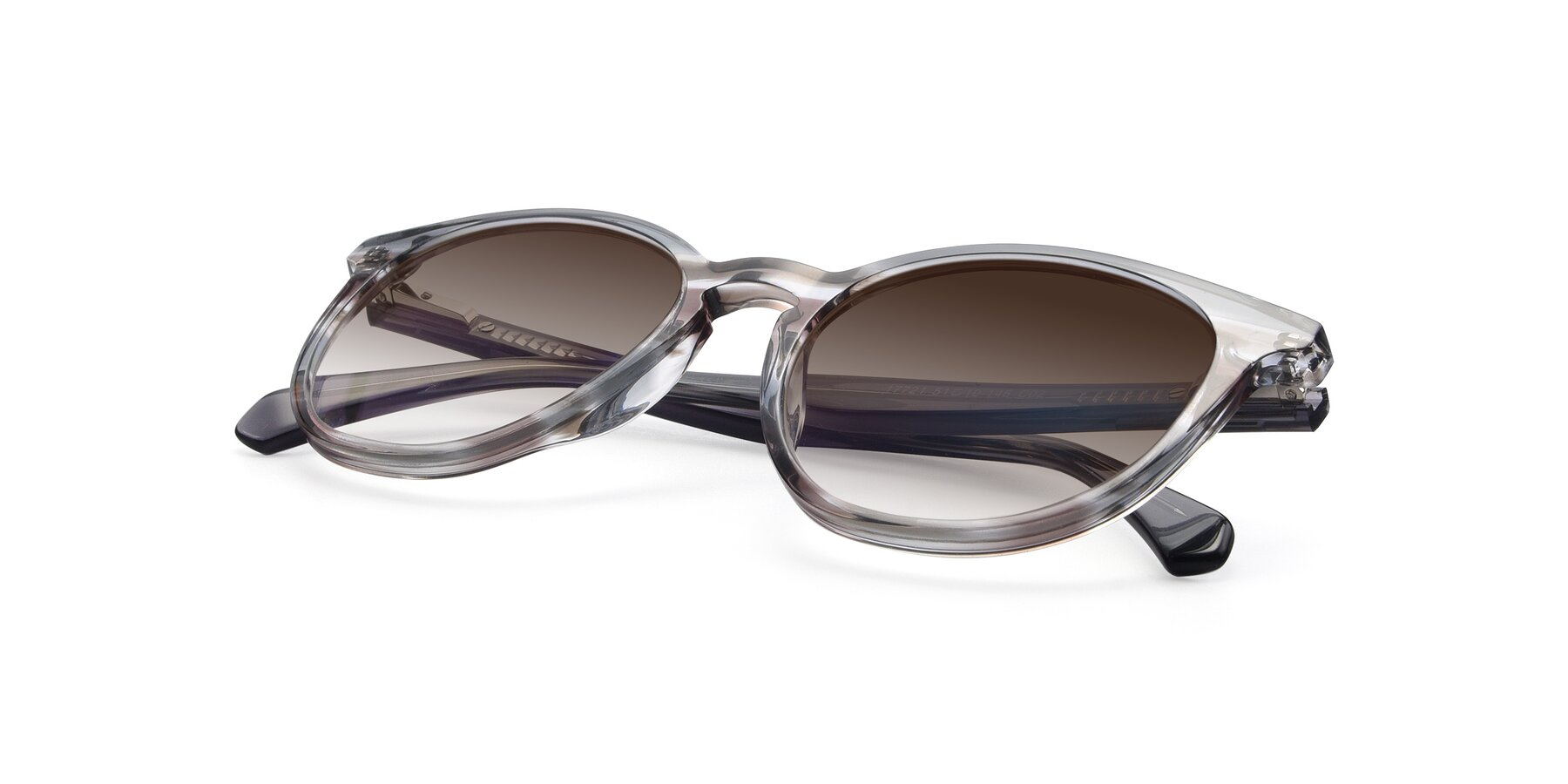 View of 17721 in Stripe Grey with Brown Gradient Lenses
