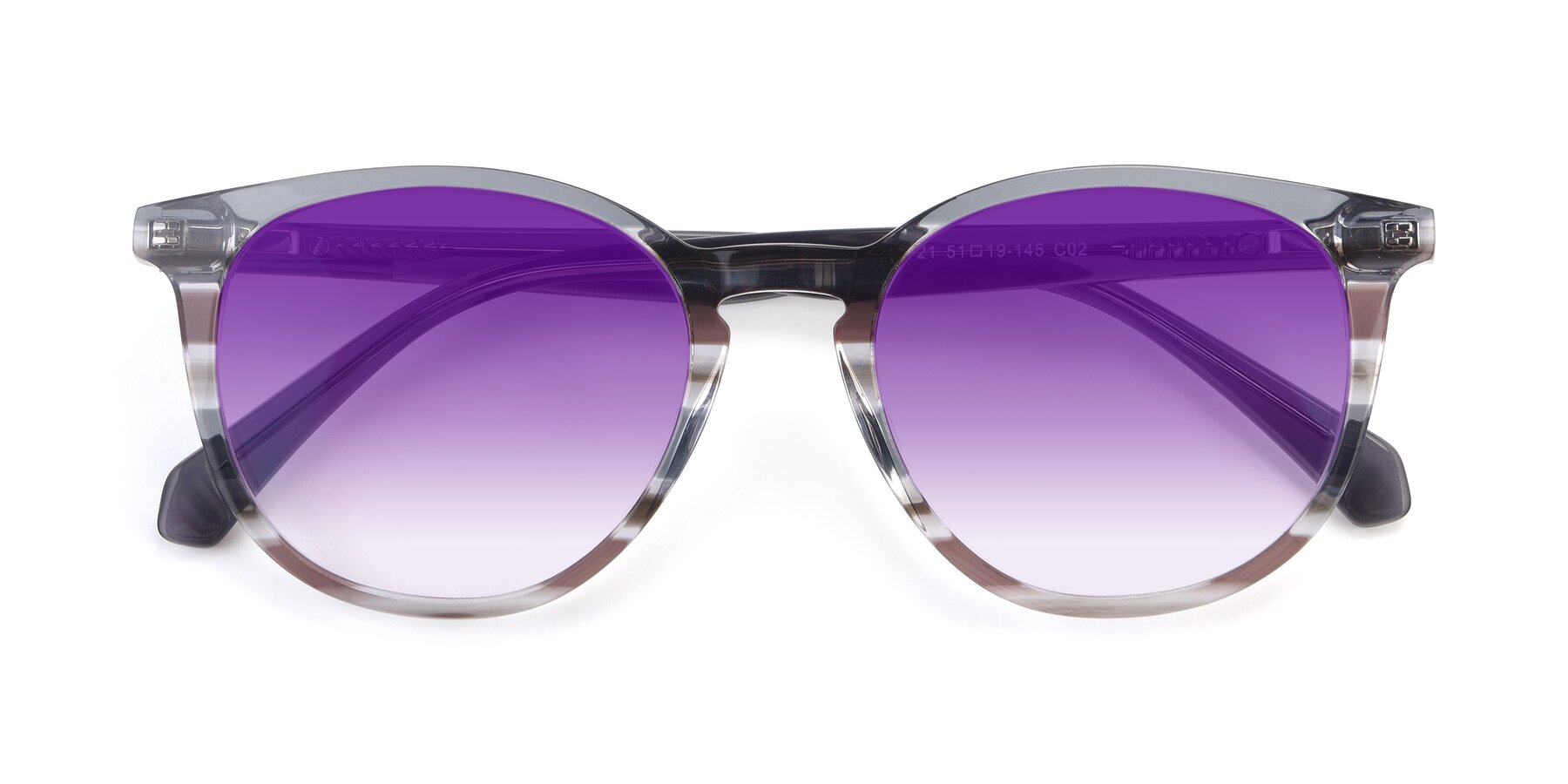 Folded Front of 17721 in Stripe Grey with Purple Gradient Lenses