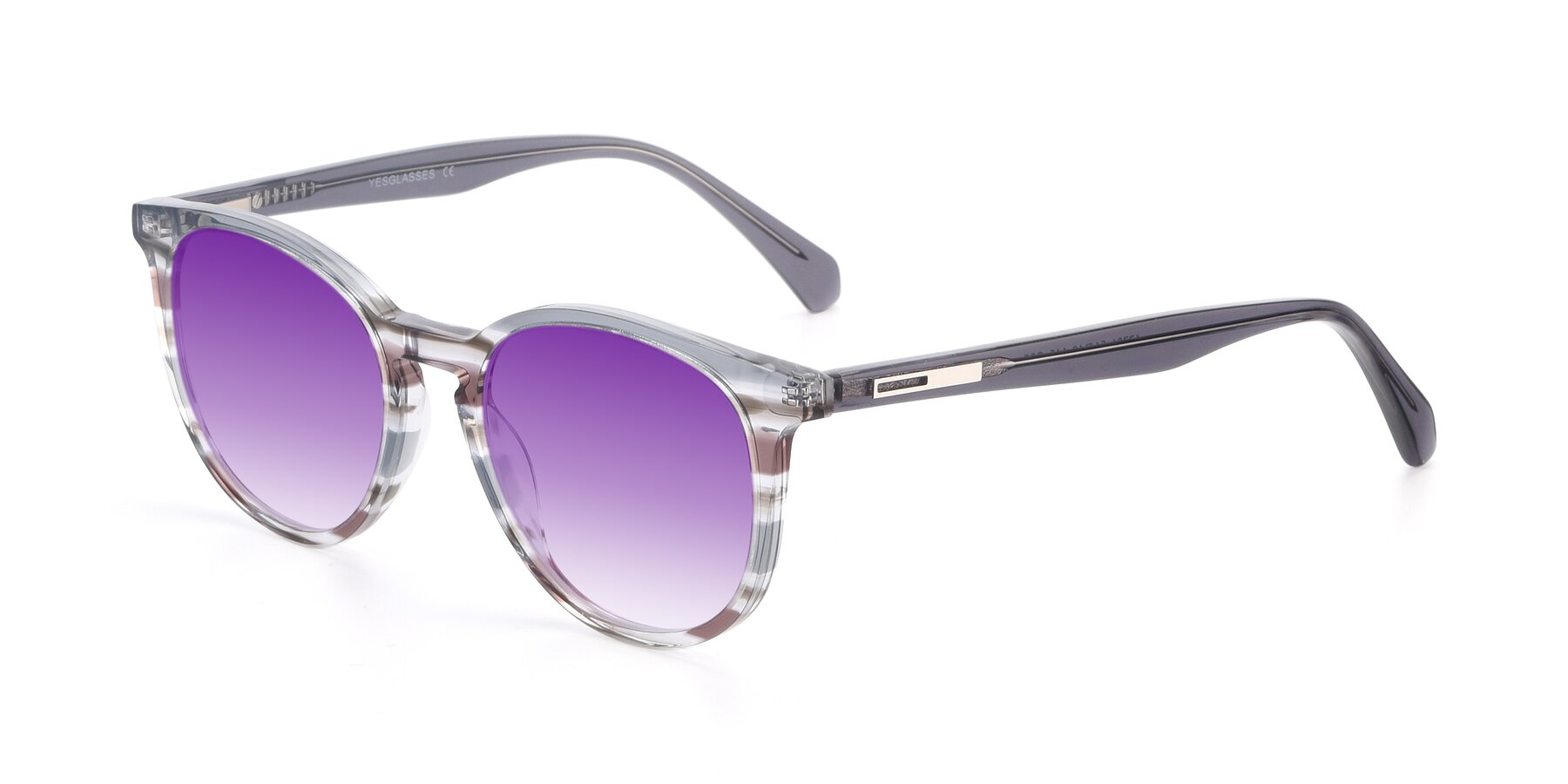Angle of 17721 in Stripe Grey with Purple Gradient Lenses