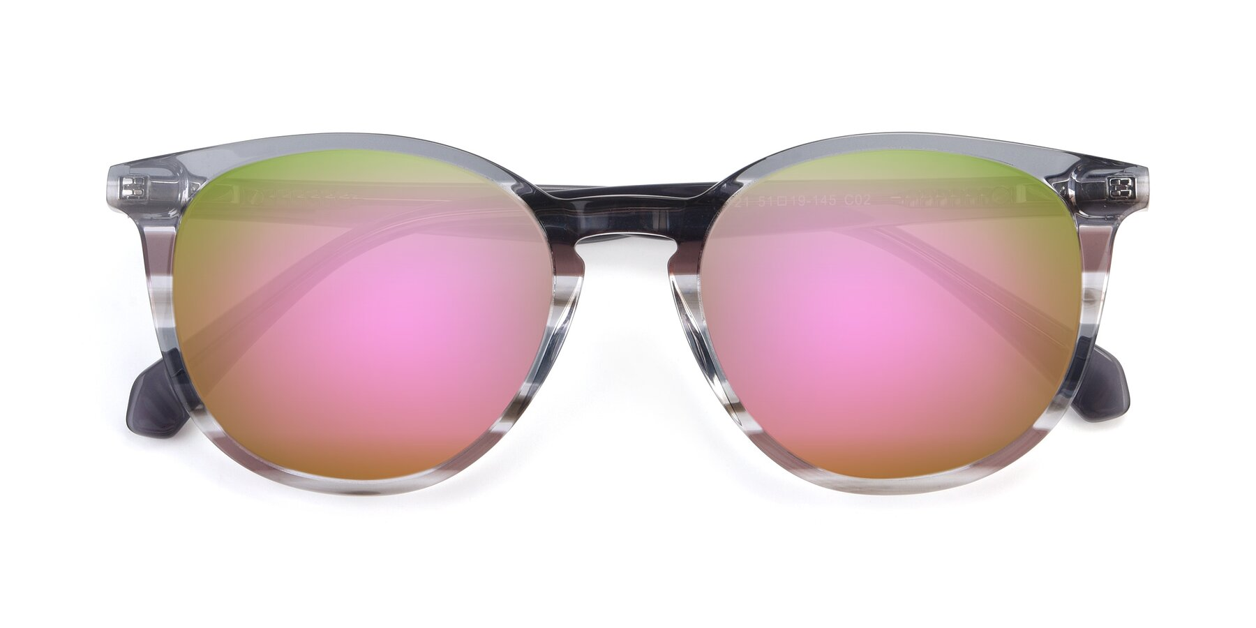Folded Front of 17721 in Stripe Grey with Pink Mirrored Lenses